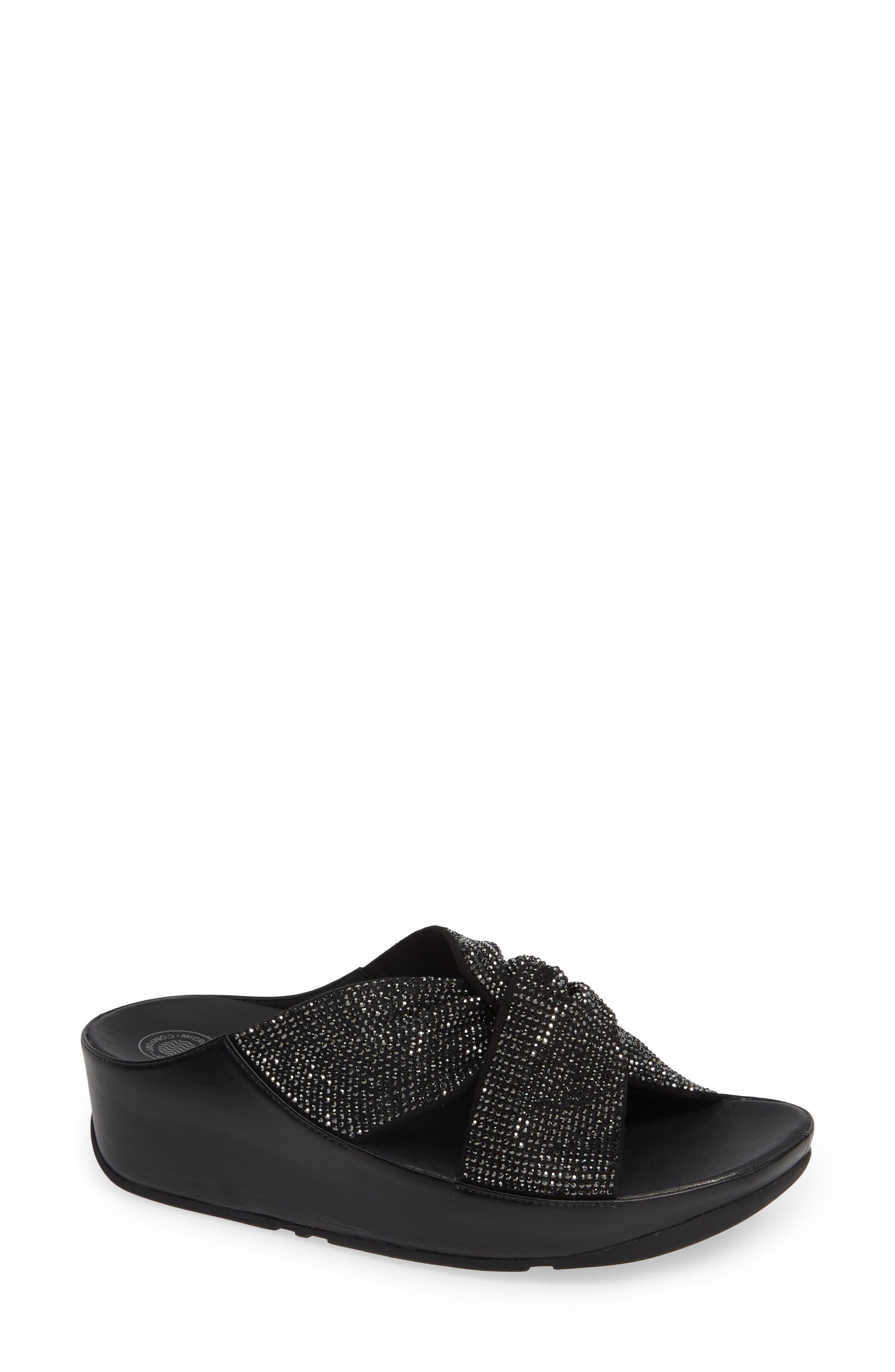 FITFLOP, Twiss Crystal Embellished Slide Sandal, Main thumbnail 1, color, BLACK FABRIC