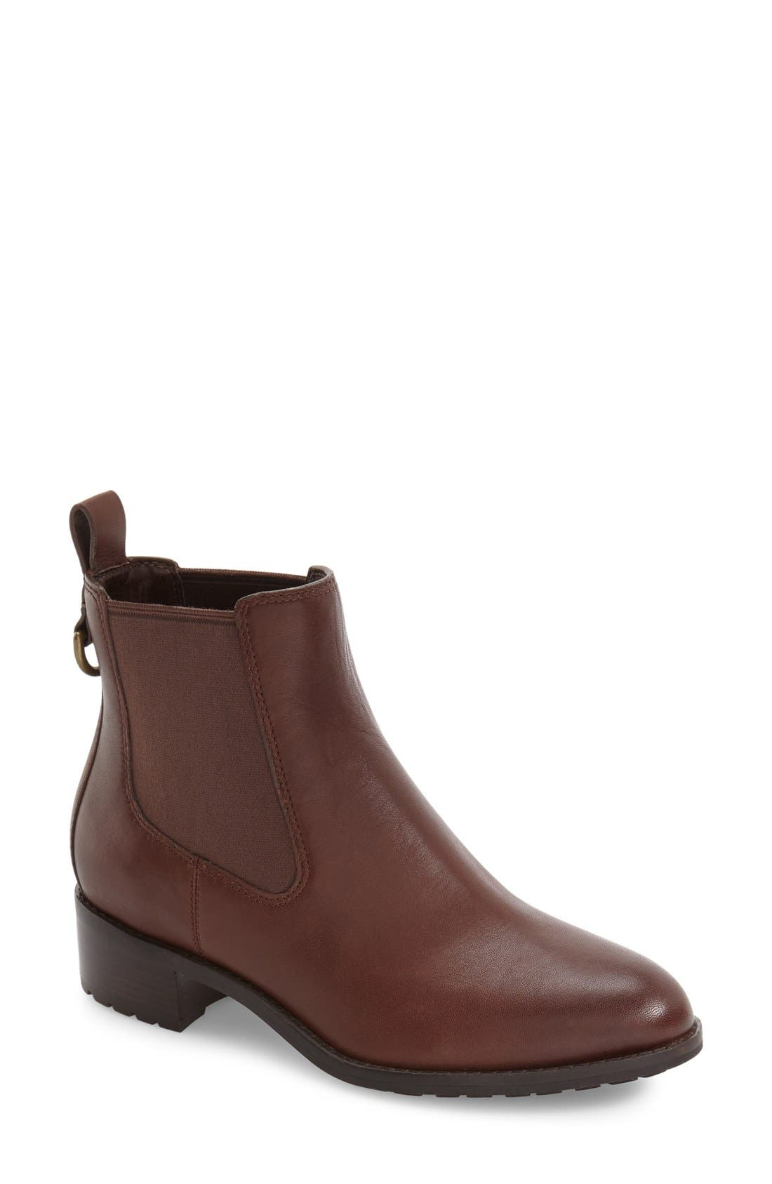 COLE HAAN, Newburg Waterproof Chelsea Boot, Main thumbnail 1, color, CHESTNUT LEATHER
