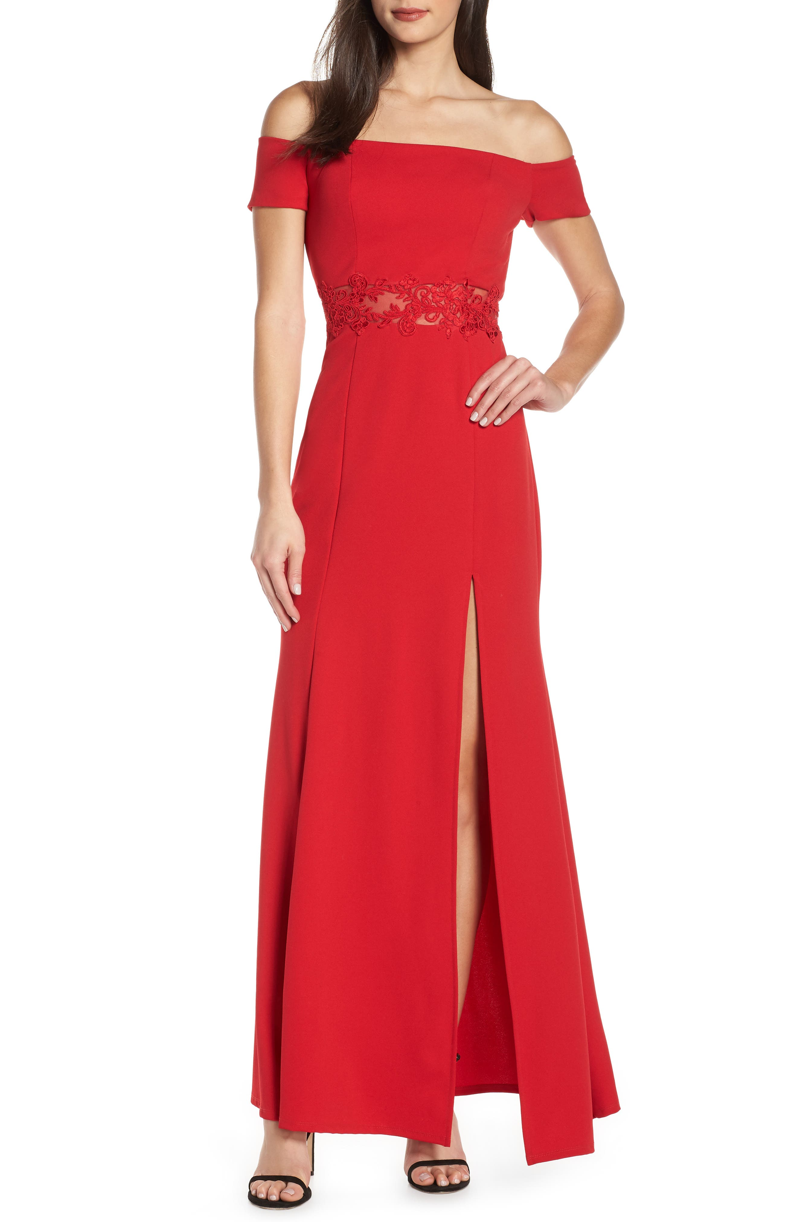 Sequin Hearts Off The Shoulder Scuba Crepe Evening Dress, Red