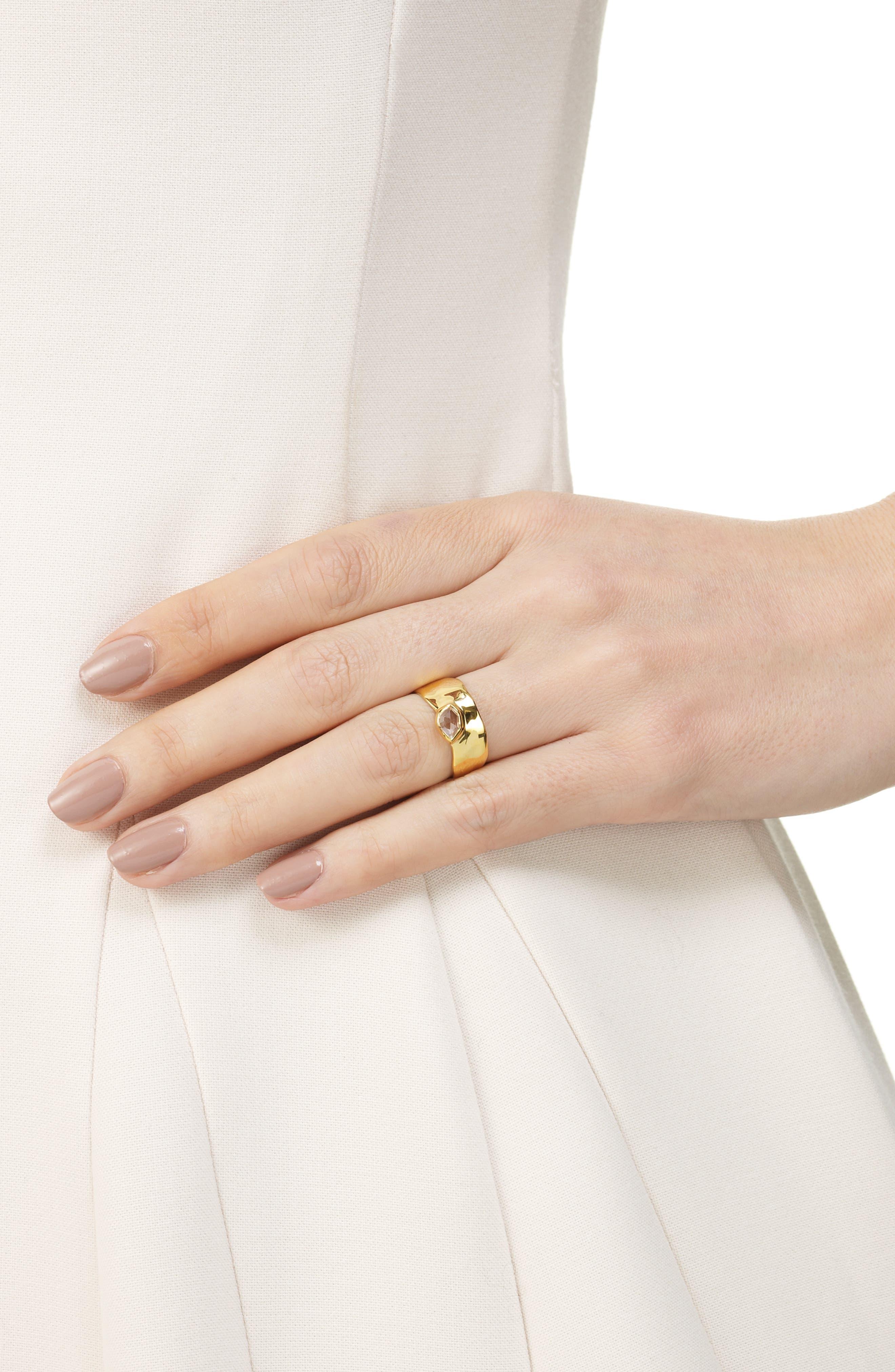 MONICA VINADER, 'Siren' Wide Band Ring, Alternate thumbnail 2, color, WHITE TOPAZ/ YELLOW GOLD