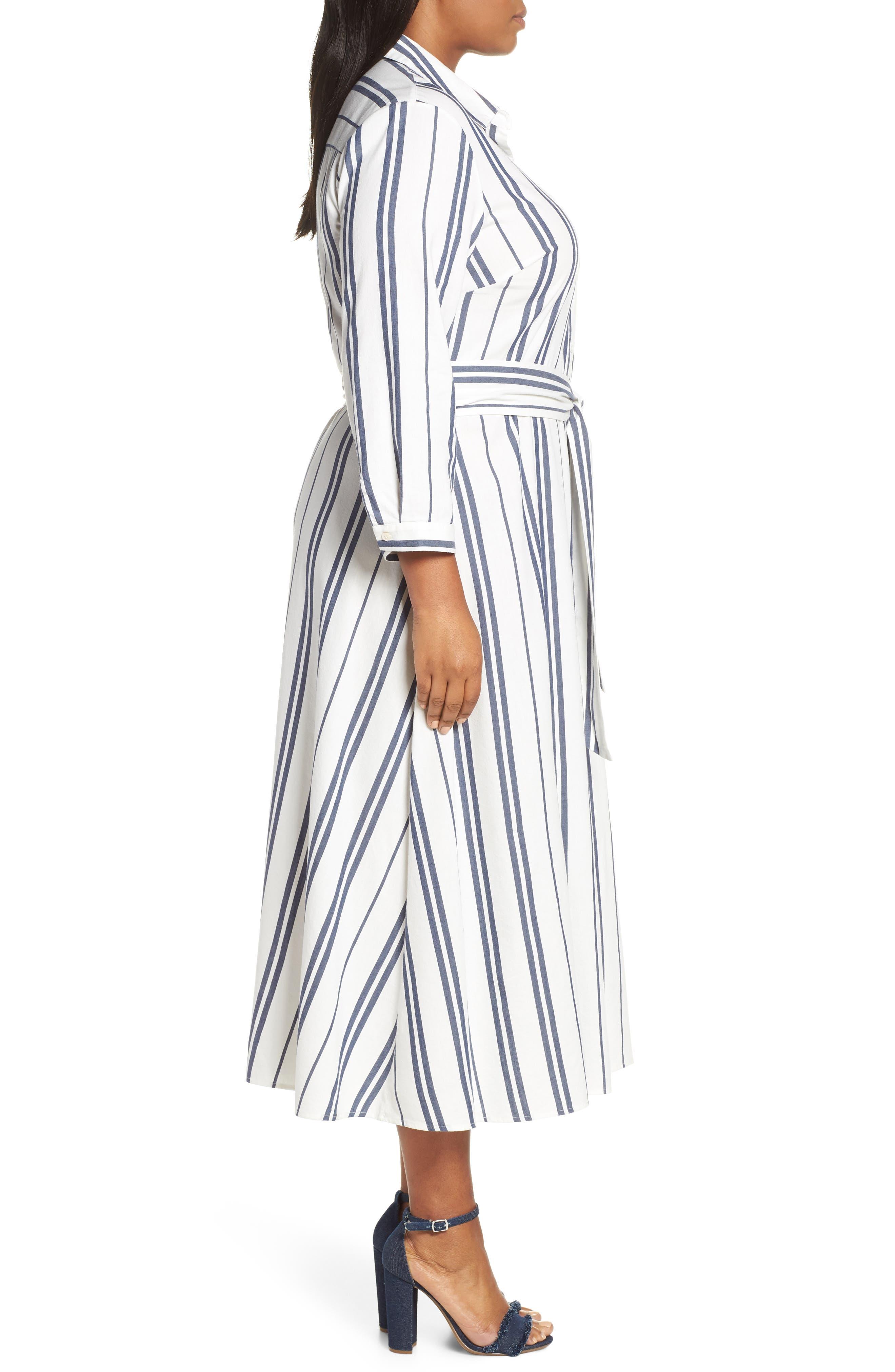 VINCE CAMUTO, Valiant Stripe Midi Shirtdress, Alternate thumbnail 4, color, PEARL IVORY