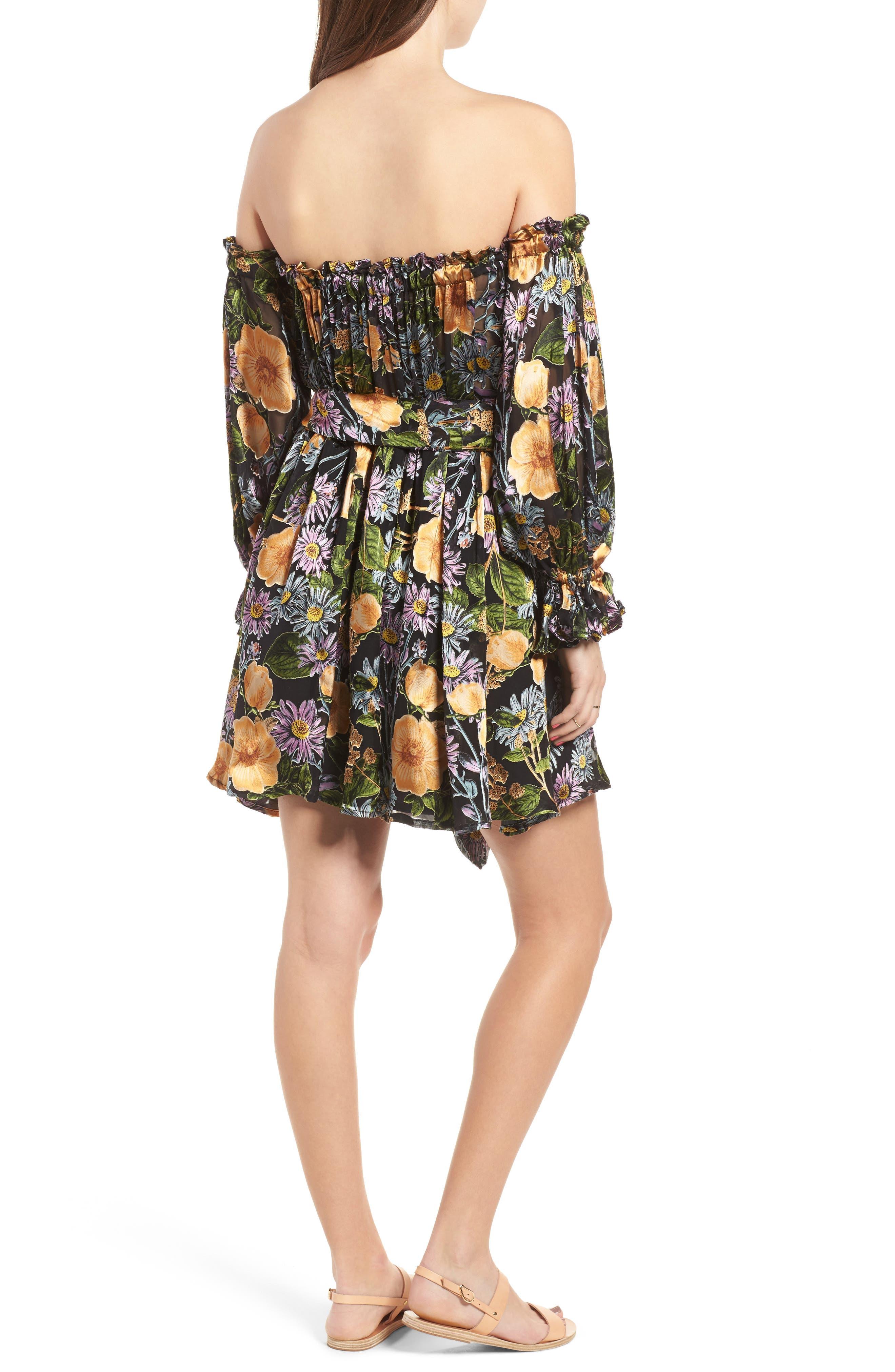 FOR LOVE & LEMONS, Luciana Strapless Fit & Flare Dress, Alternate thumbnail 2, color, 010