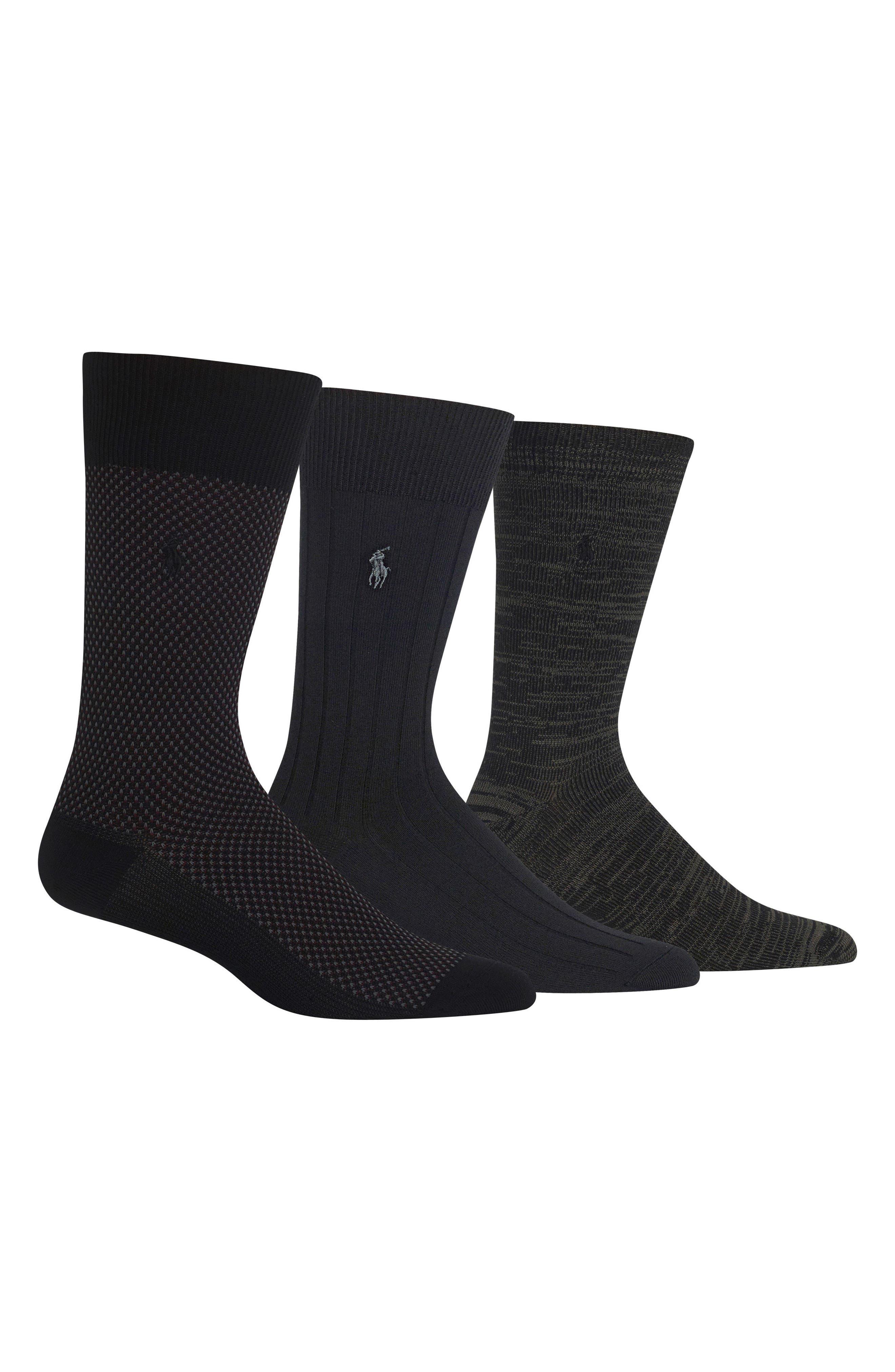 POLO RALPH LAUREN, Assorted 3-Pack Bird's Eye Socks, Main thumbnail 1, color, BLACK