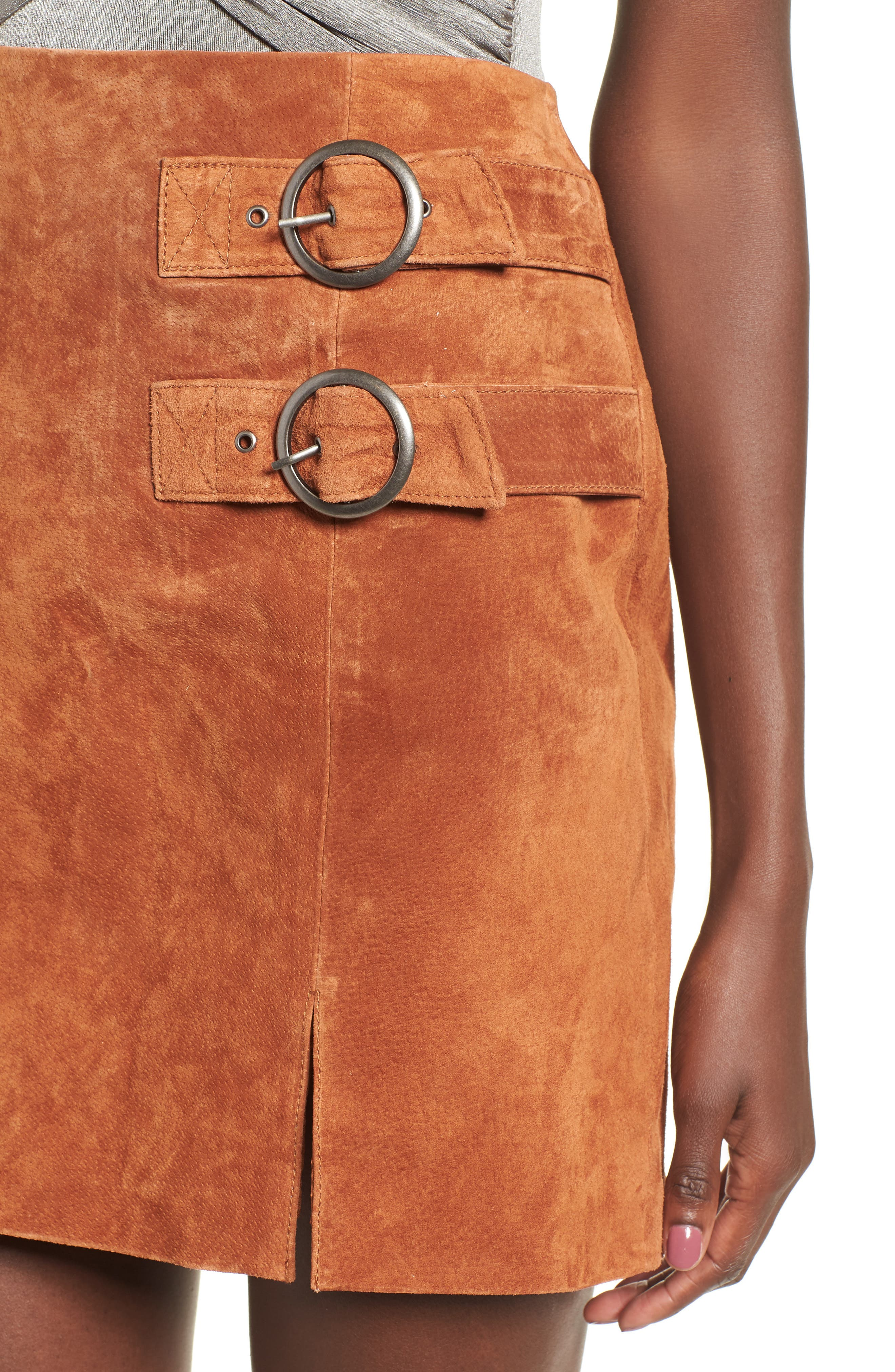 BLANKNYC, Double Buckle Suede Skirt, Alternate thumbnail 4, color, 250