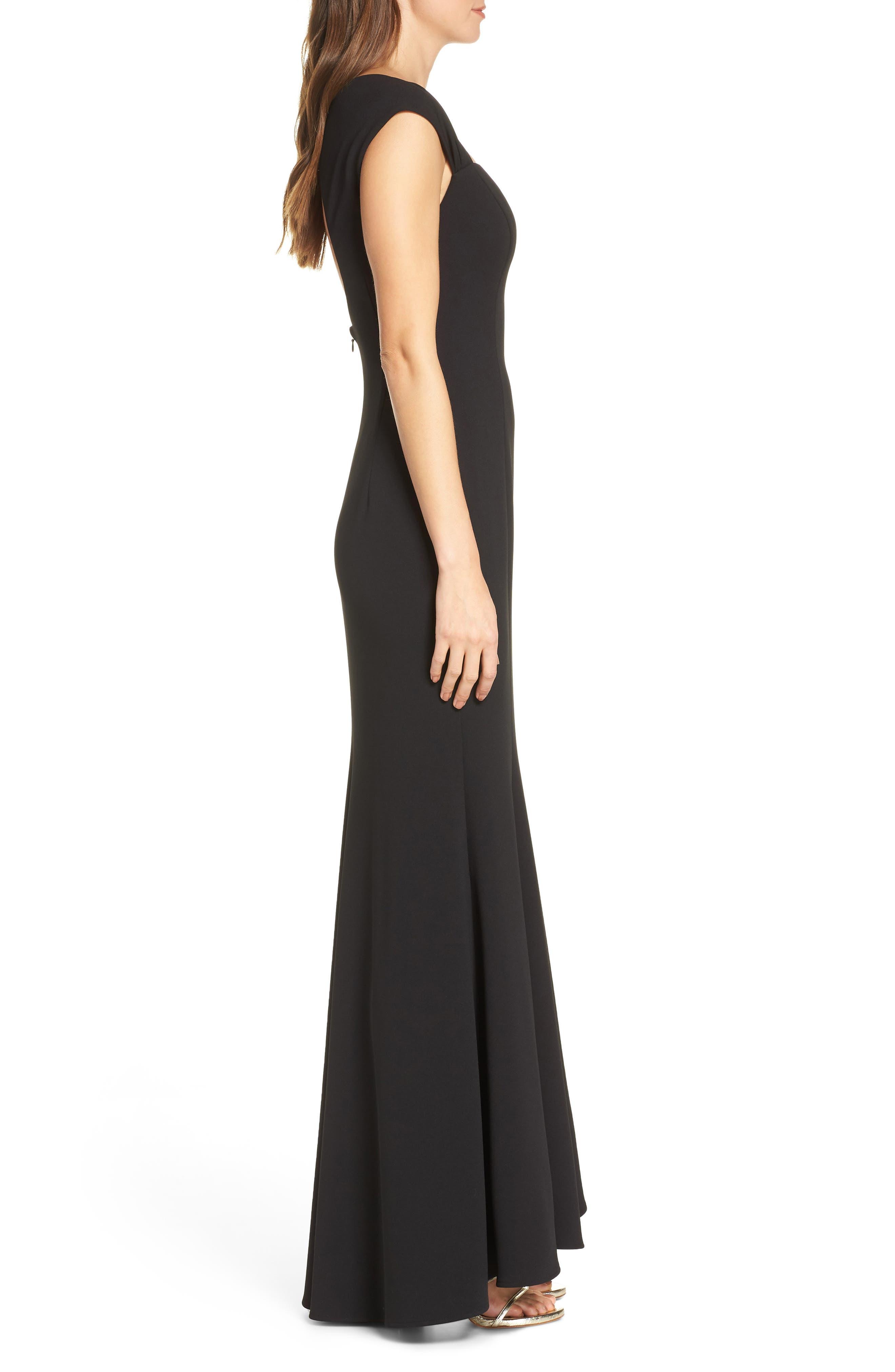 ELIZA J, Square Neck Scuba Crepe Evening Dress, Alternate thumbnail 5, color, BLACK