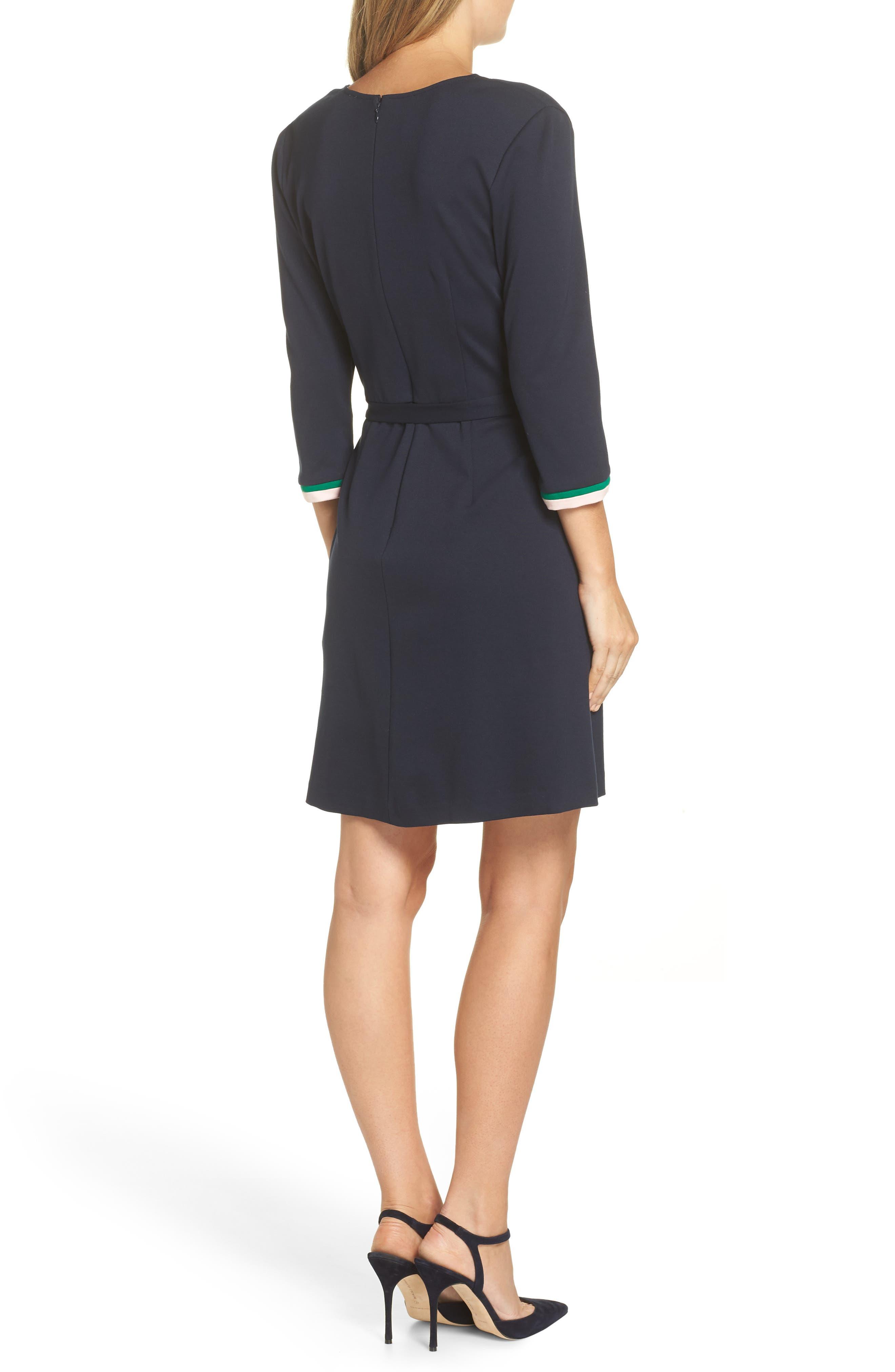 ELIZA J, Stripe Faux Wrap Dress, Alternate thumbnail 2, color, 410