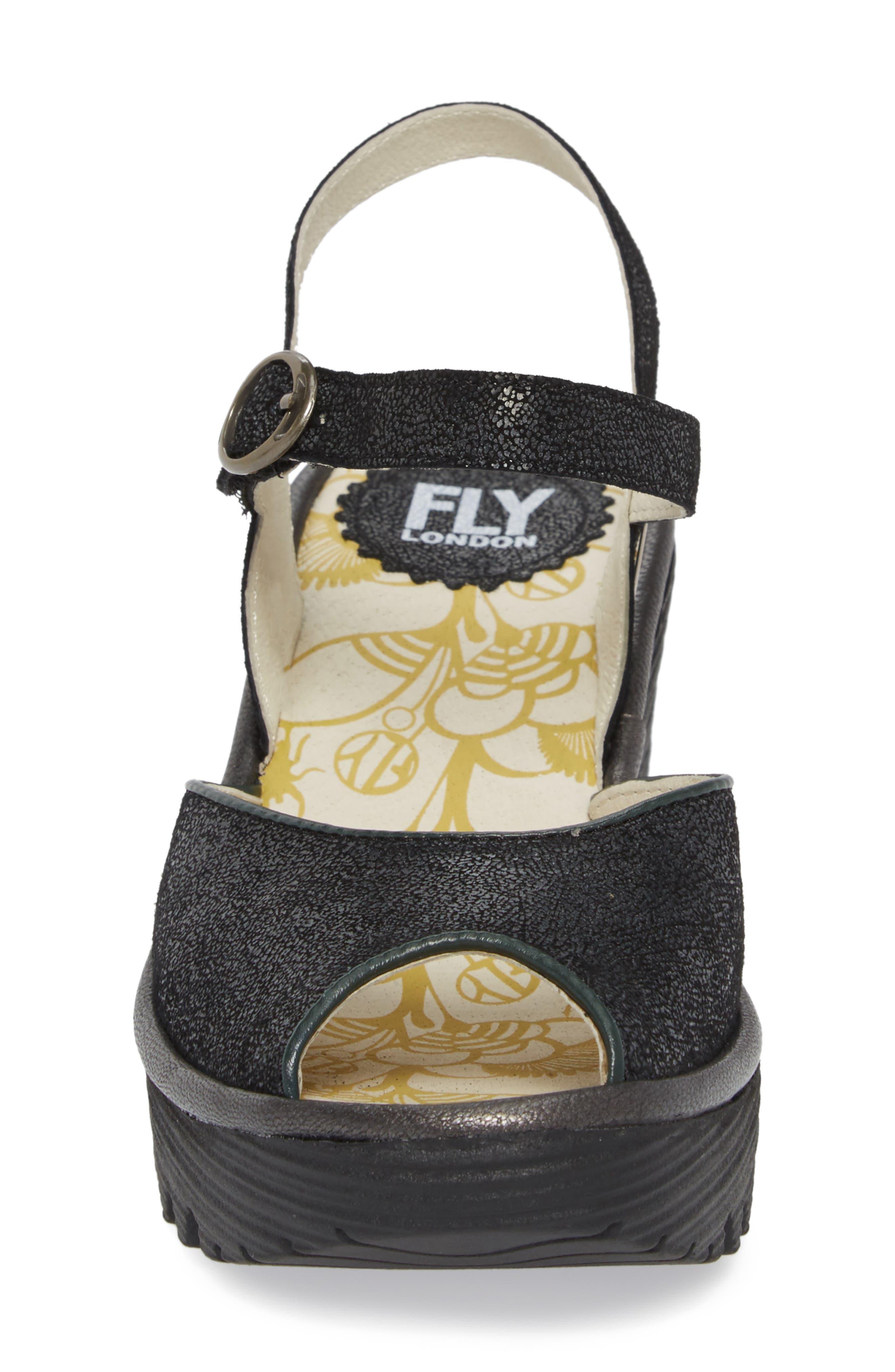 FLY LONDON, Yora Wedge Sandal, Alternate thumbnail 4, color, BLACK/ GRAPHITE LEATHER