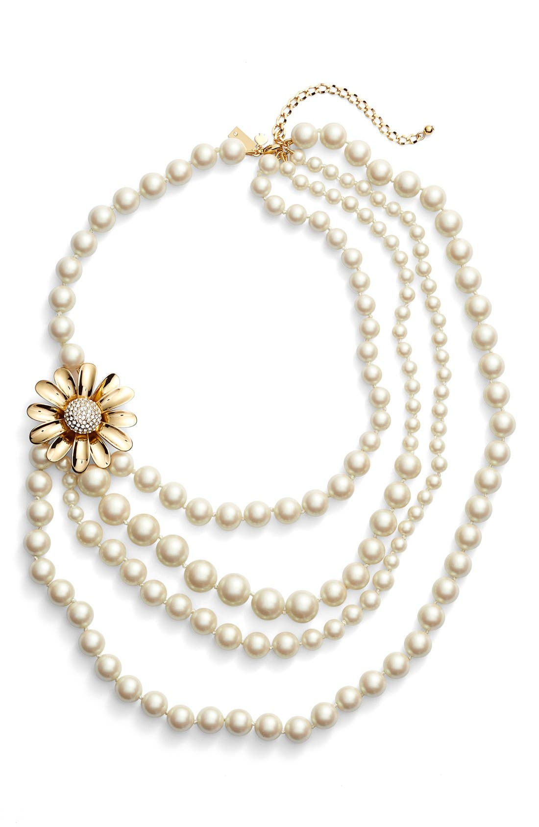 KATE SPADE NEW YORK, 'dazzling daisies' faux pearl strand necklace, Main thumbnail 1, color, 900