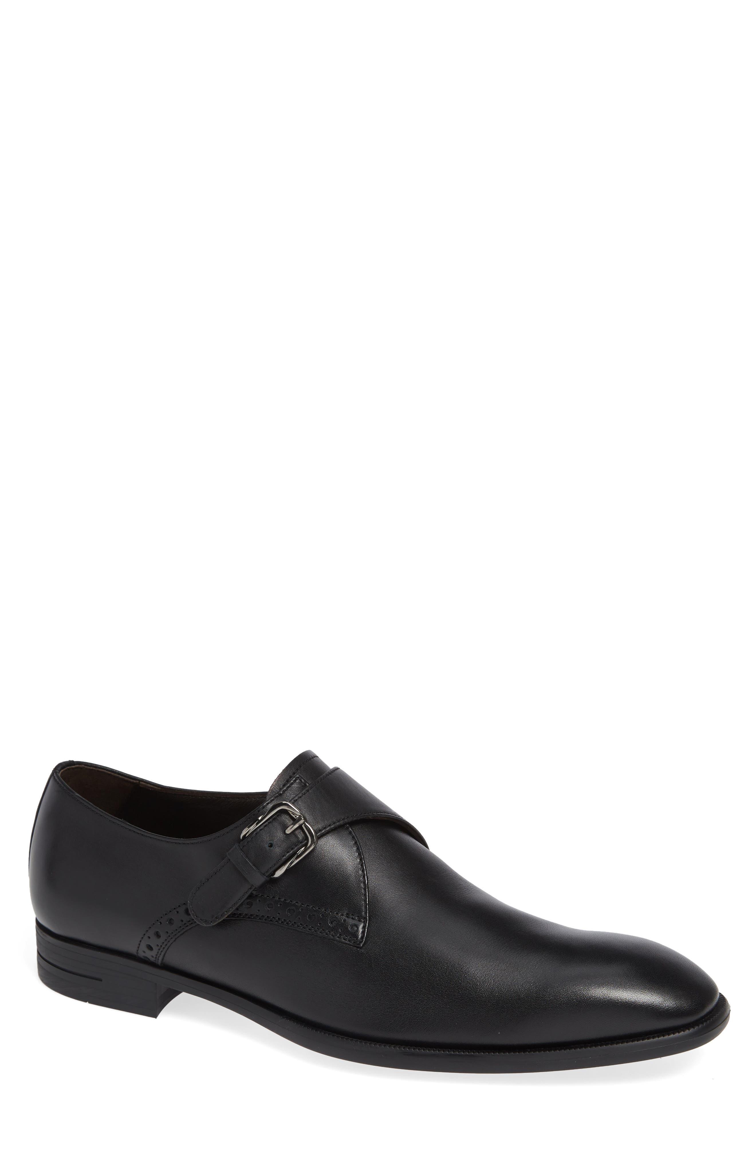 ERMENEGILDO ZEGNA, Single Strap Monk Shoe, Main thumbnail 1, color, BLACK