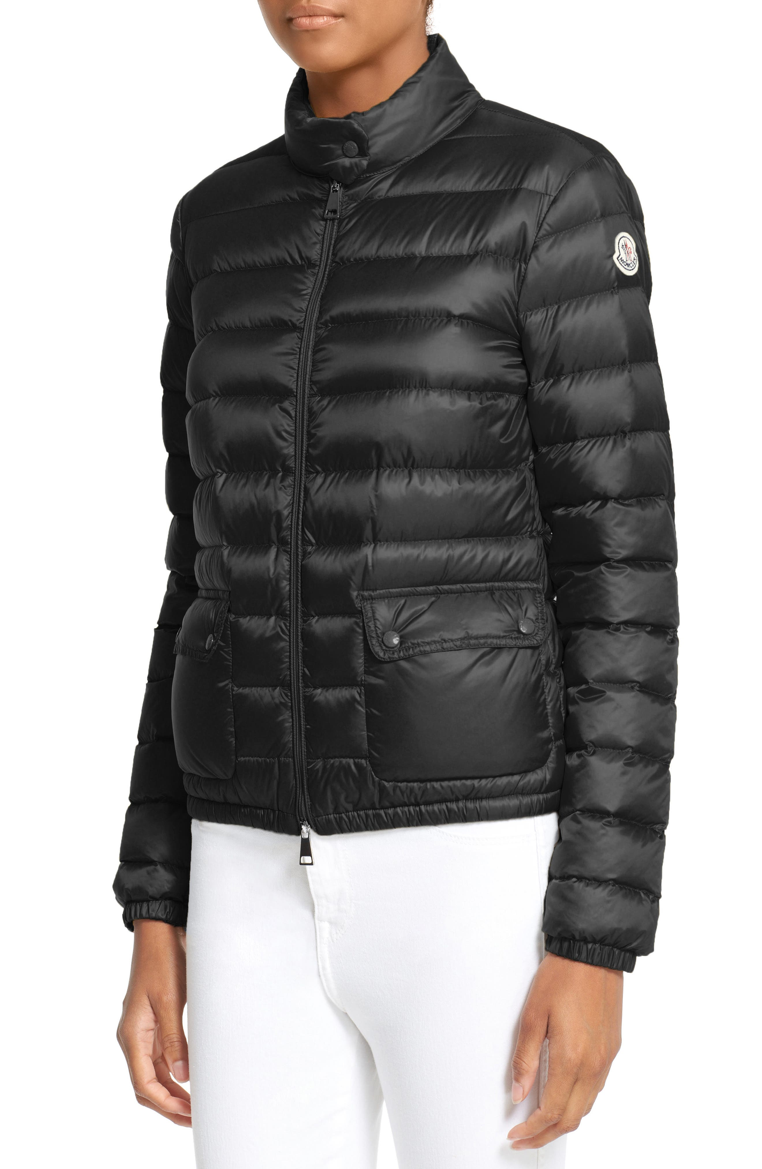 MONCLER, 'Lans' Water Resistant Short Down Jacket, Alternate thumbnail 4, color, 001