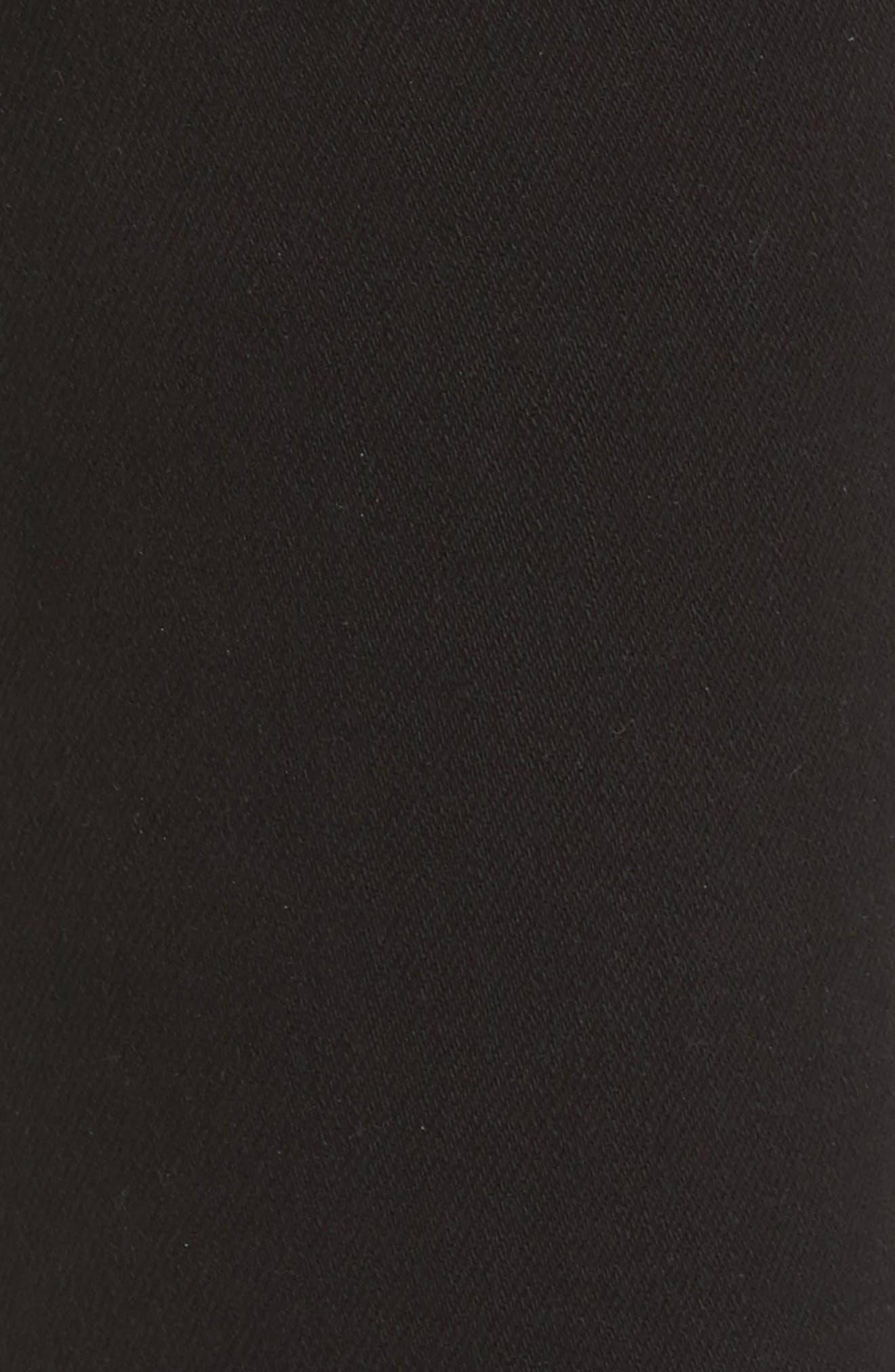 L'AGENCE, Highline High Waist Fray Hem Skinny Jeans, Alternate thumbnail 6, color, SATURATED BLACK DESTRUCT