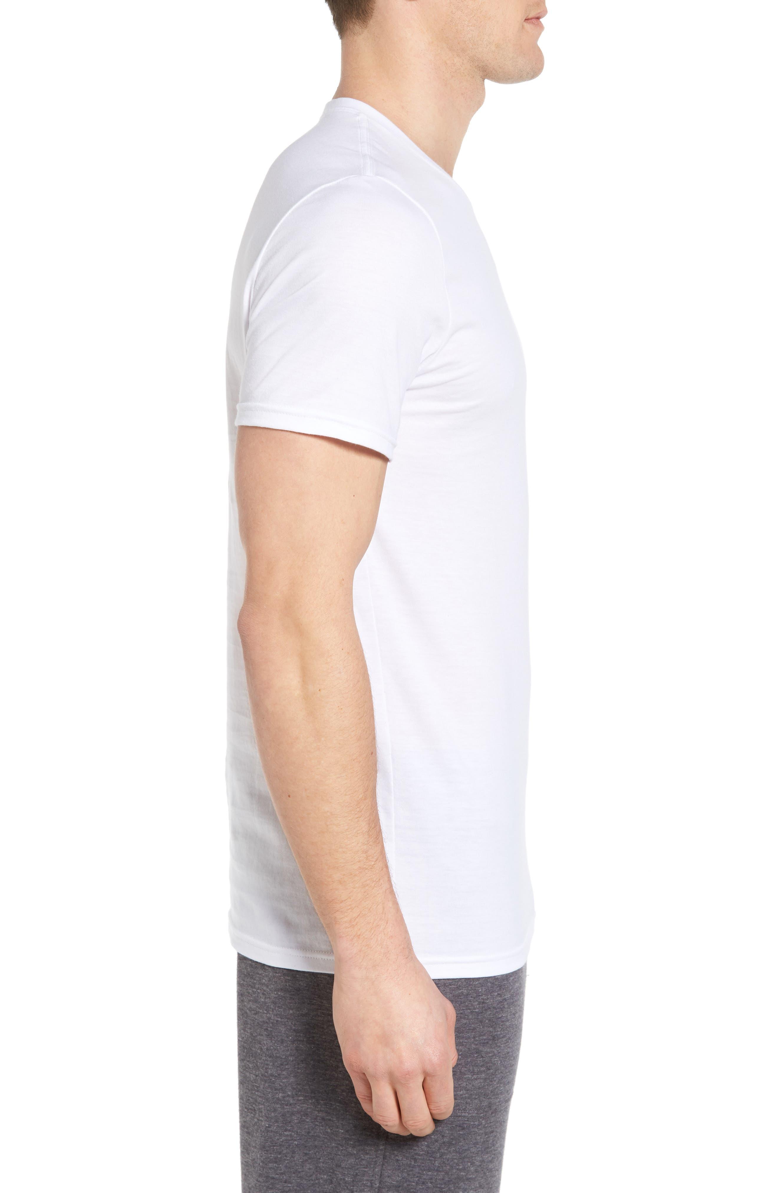 NORDSTROM MEN'S SHOP, 4-Pack Trim Fit Supima<sup>®</sup> Cotton Crewneck T-Shirt, Alternate thumbnail 4, color, WHITE