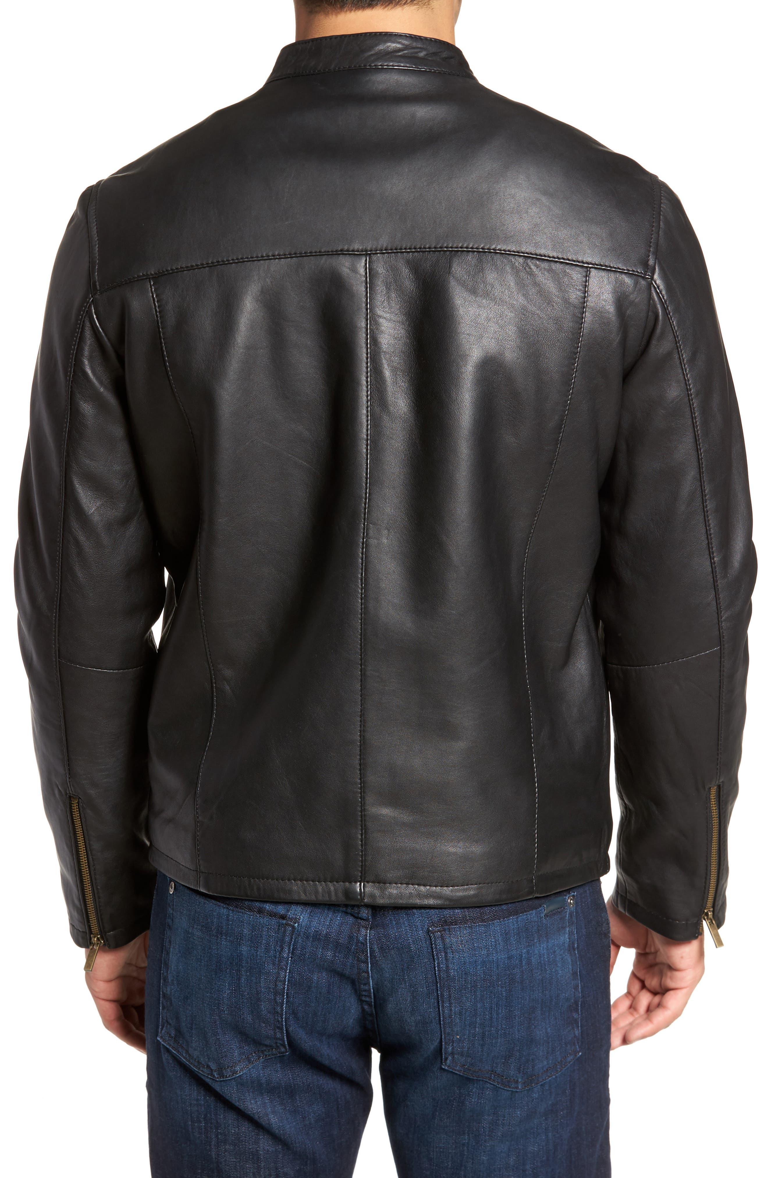 COLE HAAN, Lambskin Leather Moto Jacket, Alternate thumbnail 2, color, 001