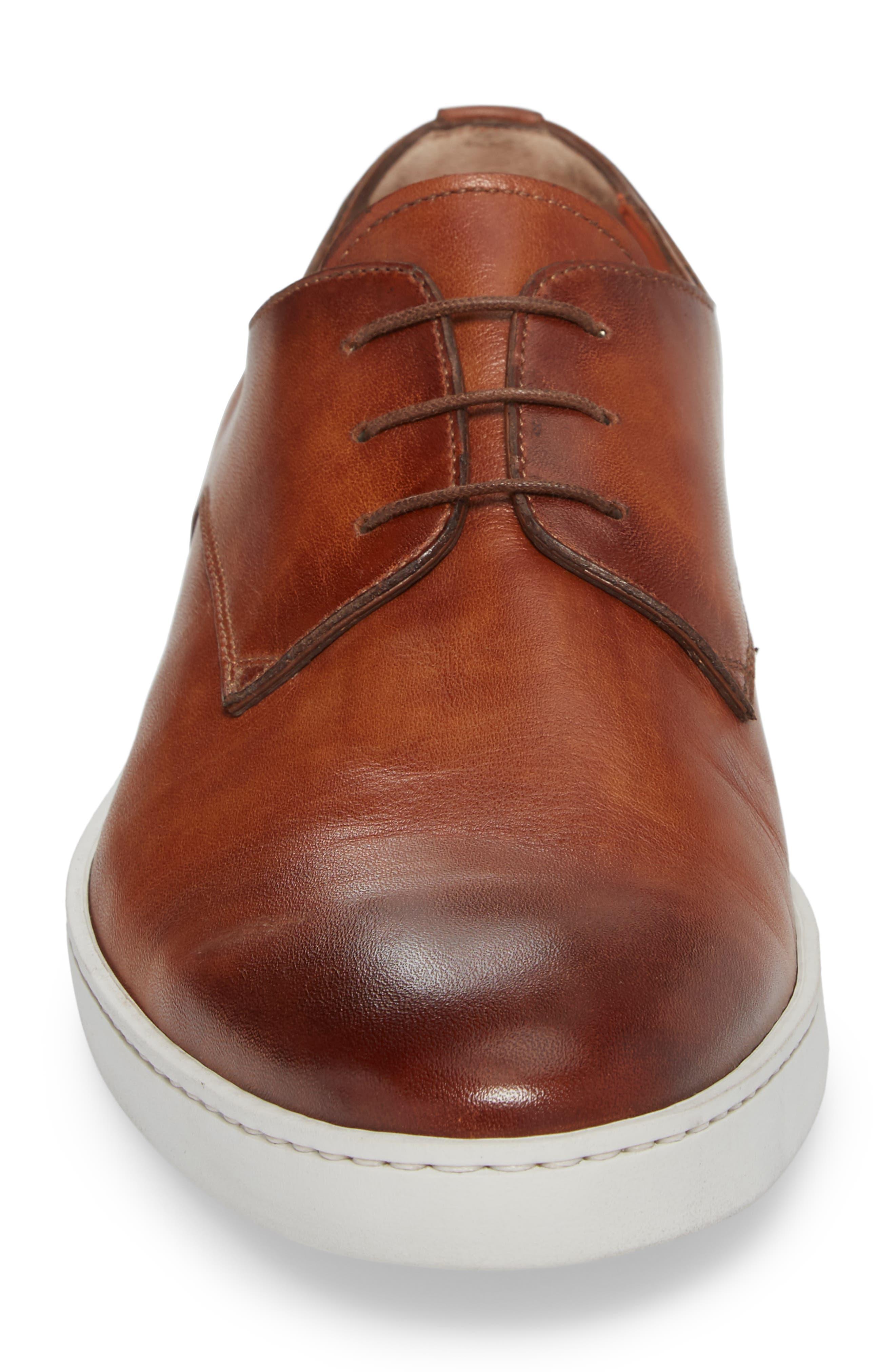 SANTONI, Doyle Plain Toe Derby Sneaker, Alternate thumbnail 4, color, TAN