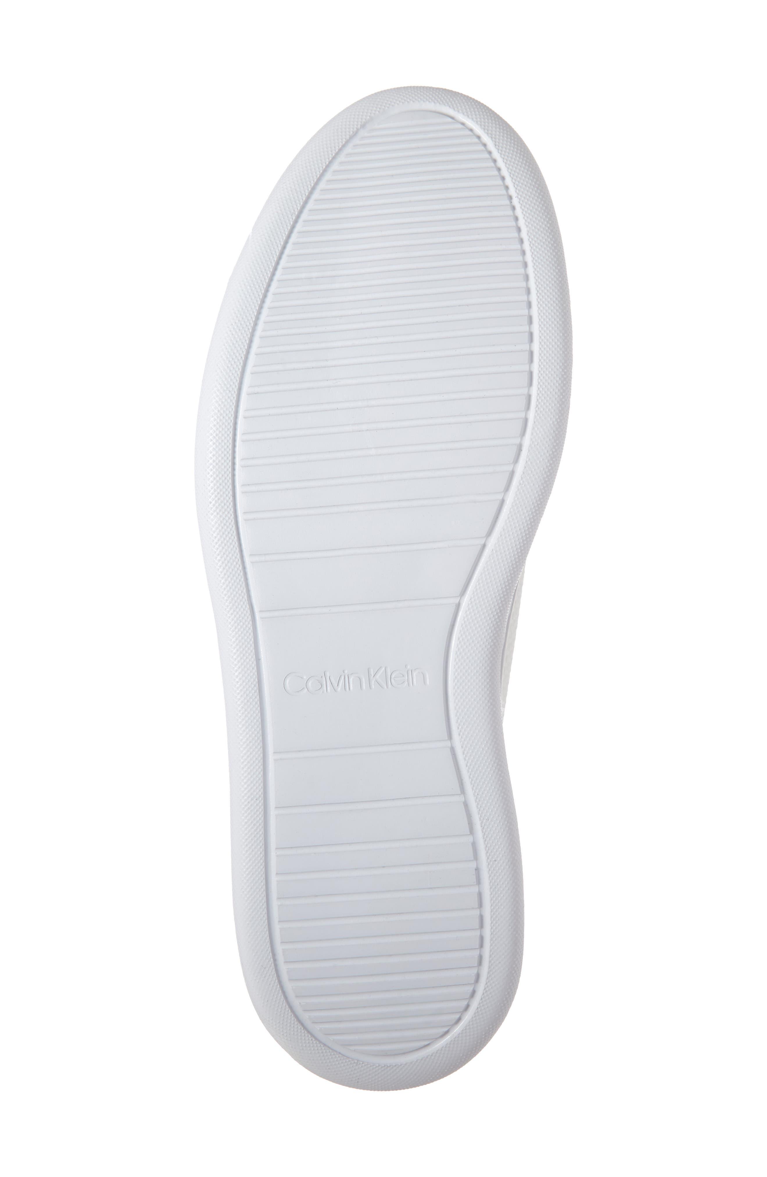 CALVIN KLEIN, Freeport Sneaker, Alternate thumbnail 6, color, WHITE