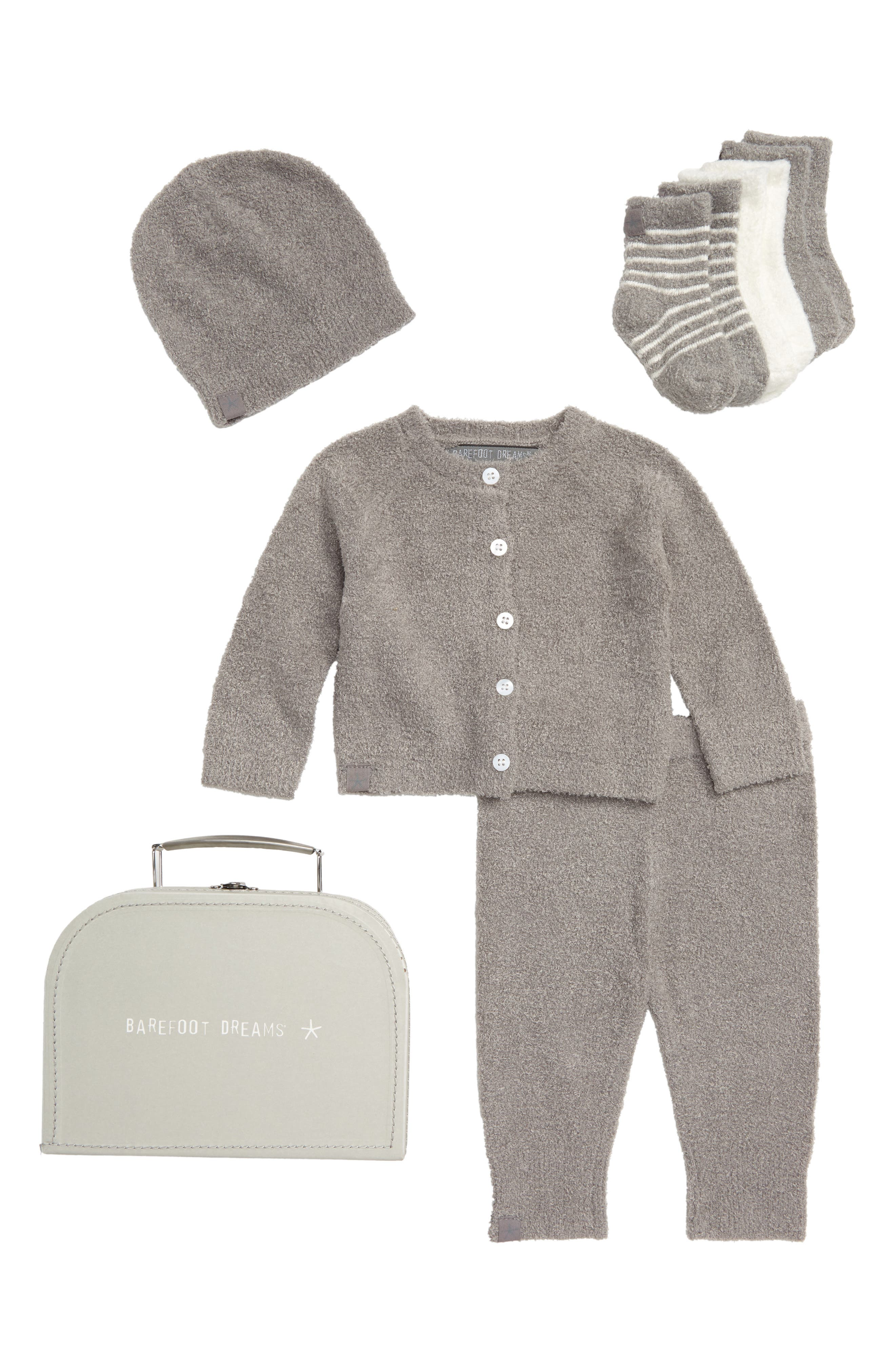 BAREFOOT DREAMS<SUP>®</SUP>, CozyChic<sup>®</sup> Lite Classic Cardigan, Pants, Socks, Beanie & Suitcase Set, Main thumbnail 1, color, PEWTER