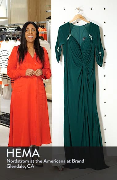 Crystal Embellished Twist Front Evening Dress, sales video thumbnail