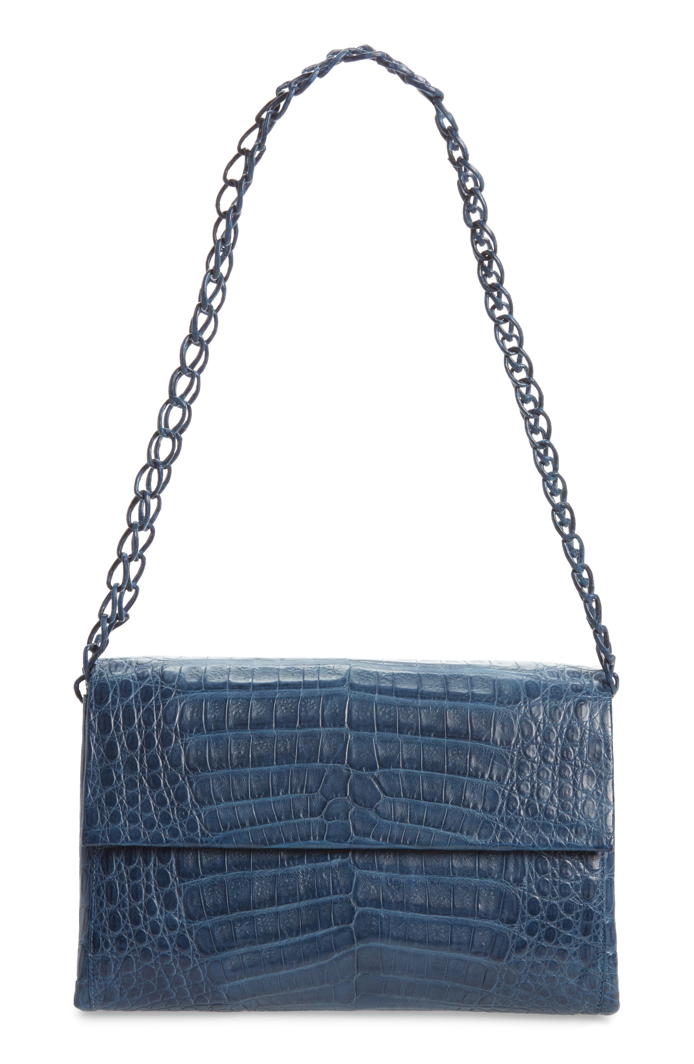 NANCY GONZALEZ Genuine Crocodile Shoulder Bag, Main, color, DENIM MATTE