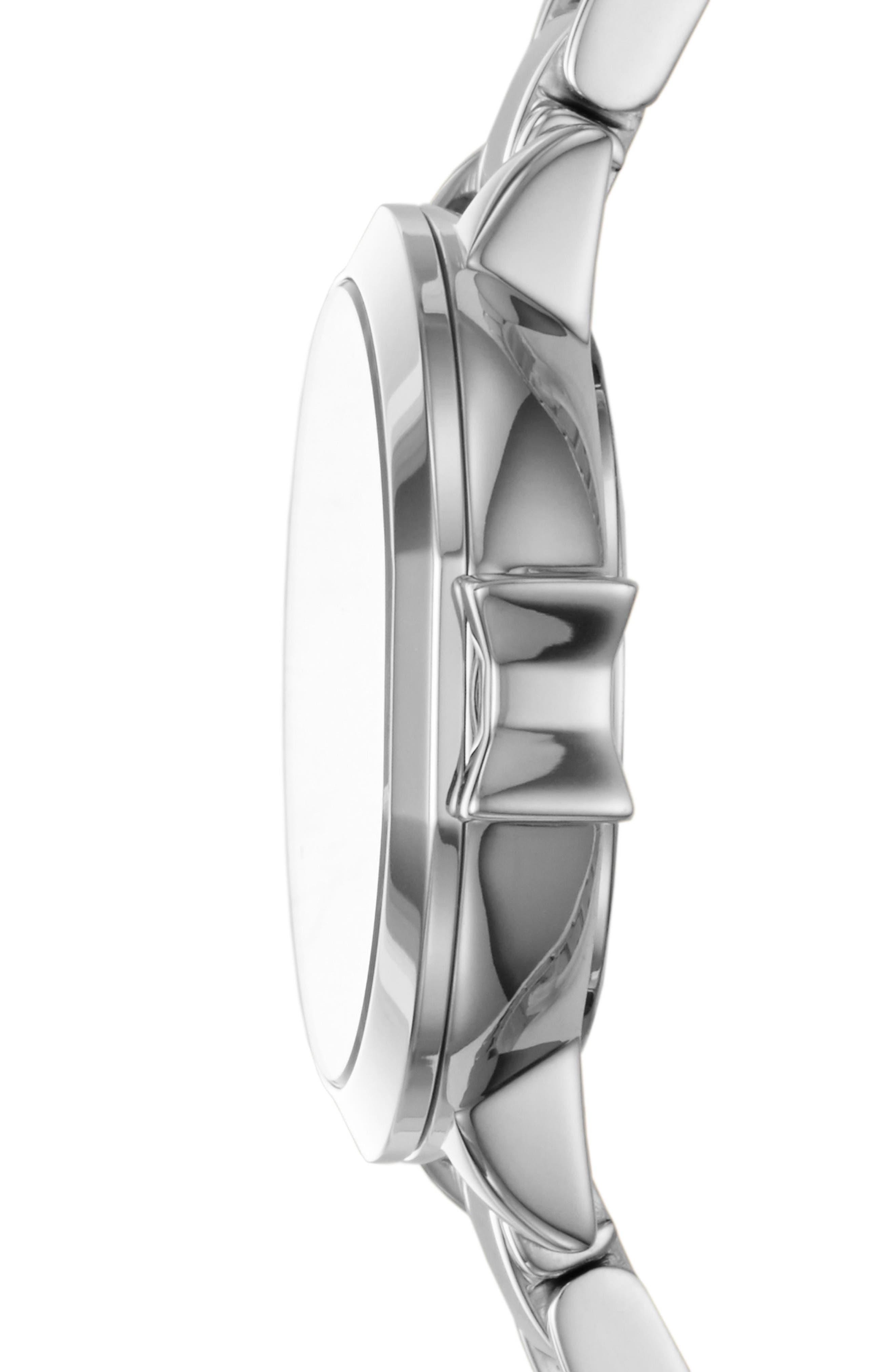 KATE SPADE NEW YORK, park row bracelet watch, 24mm, Alternate thumbnail 2, color, SILVER/ MOP/ SILVER
