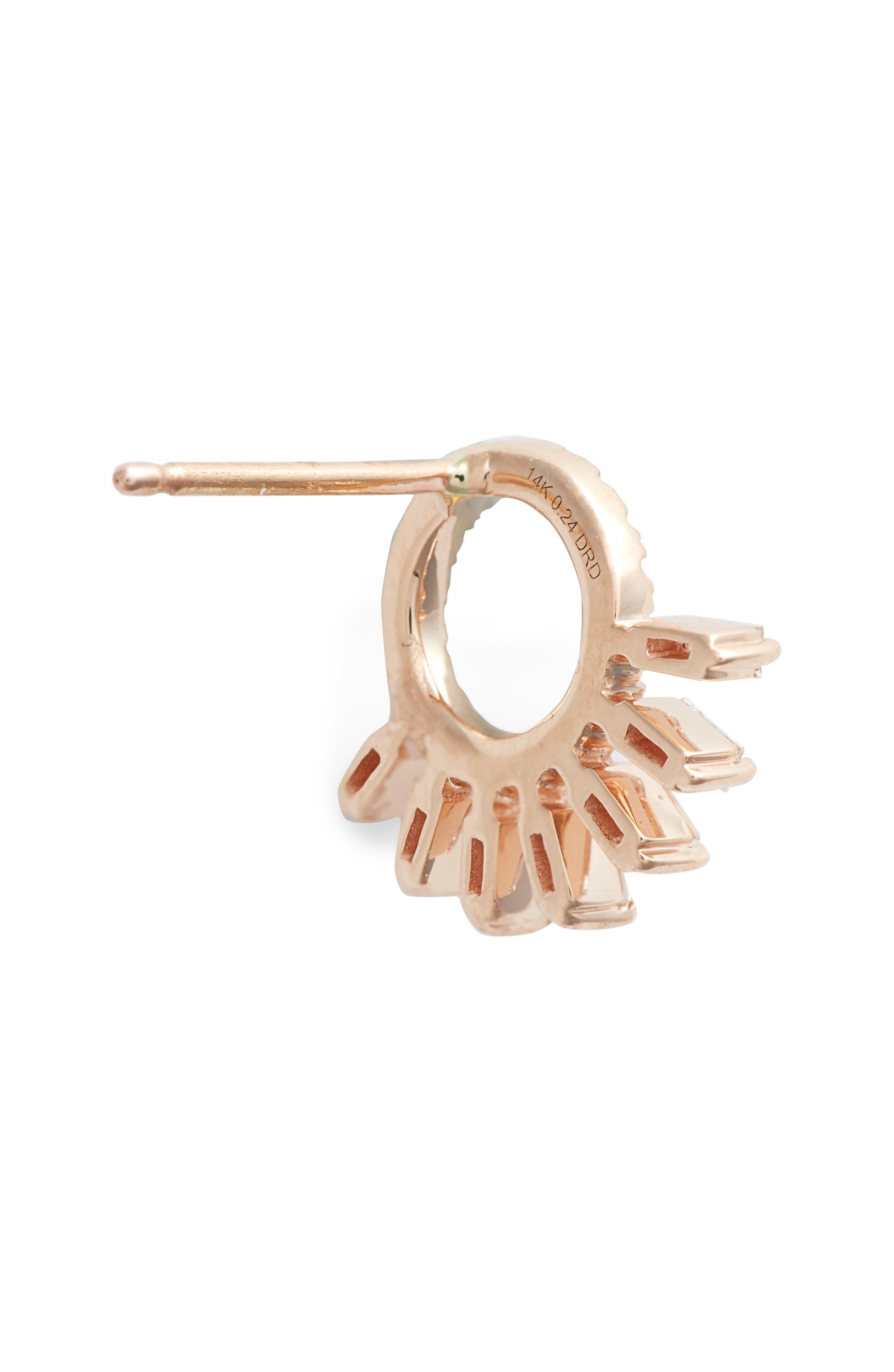 DANA REBECCA DESIGNS, Dana Rebecca Sadie Starburst Stud Earrings, Alternate thumbnail 3, color, ROSE GOLD