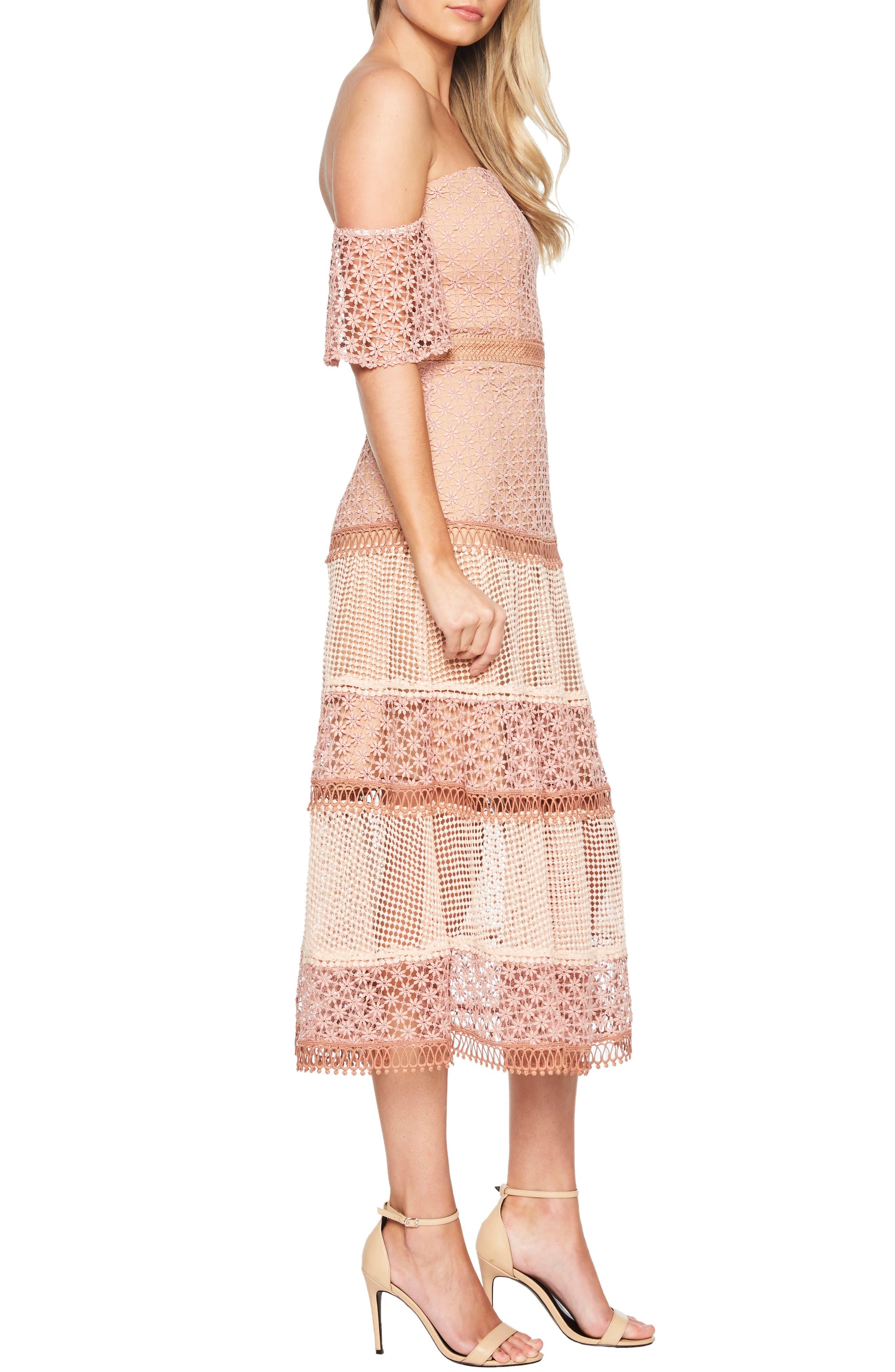 BARDOT, Kristen Off the Shoulder Lace Midi Dress, Alternate thumbnail 4, color, 680
