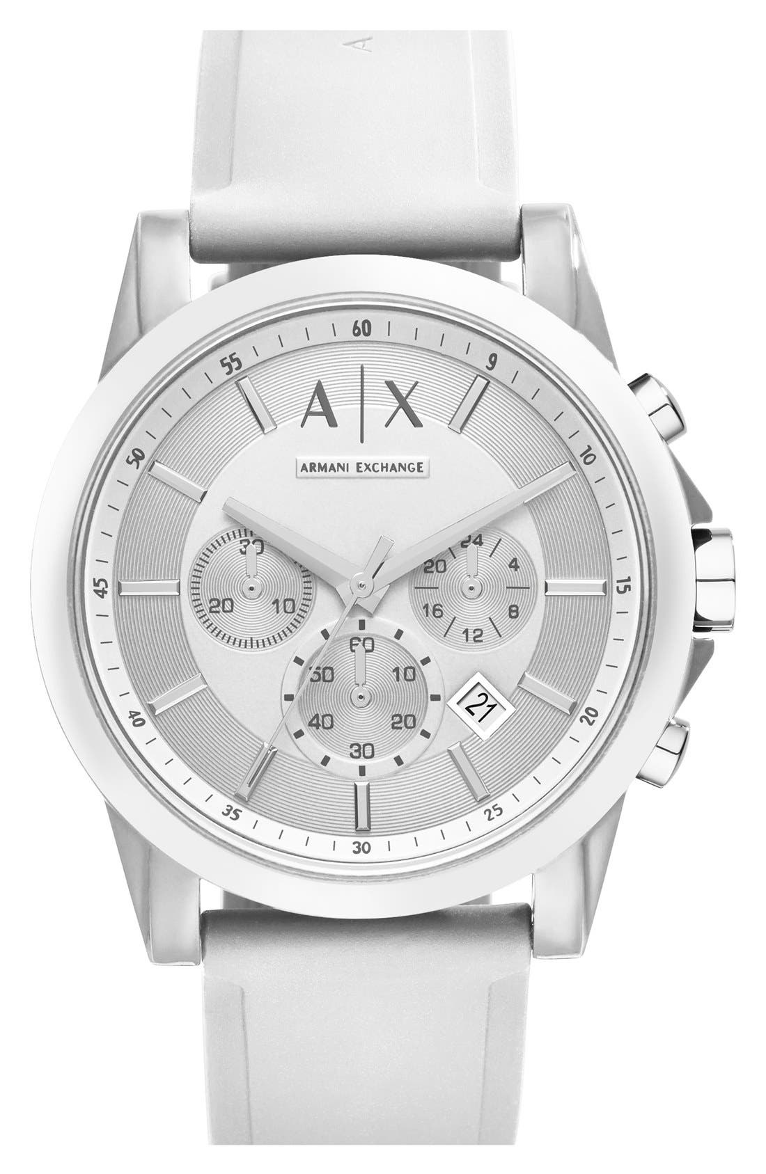 AX ARMANI EXCHANGE, Chronograph Silicone Strap Watch, 44mm, Main thumbnail 1, color, 100