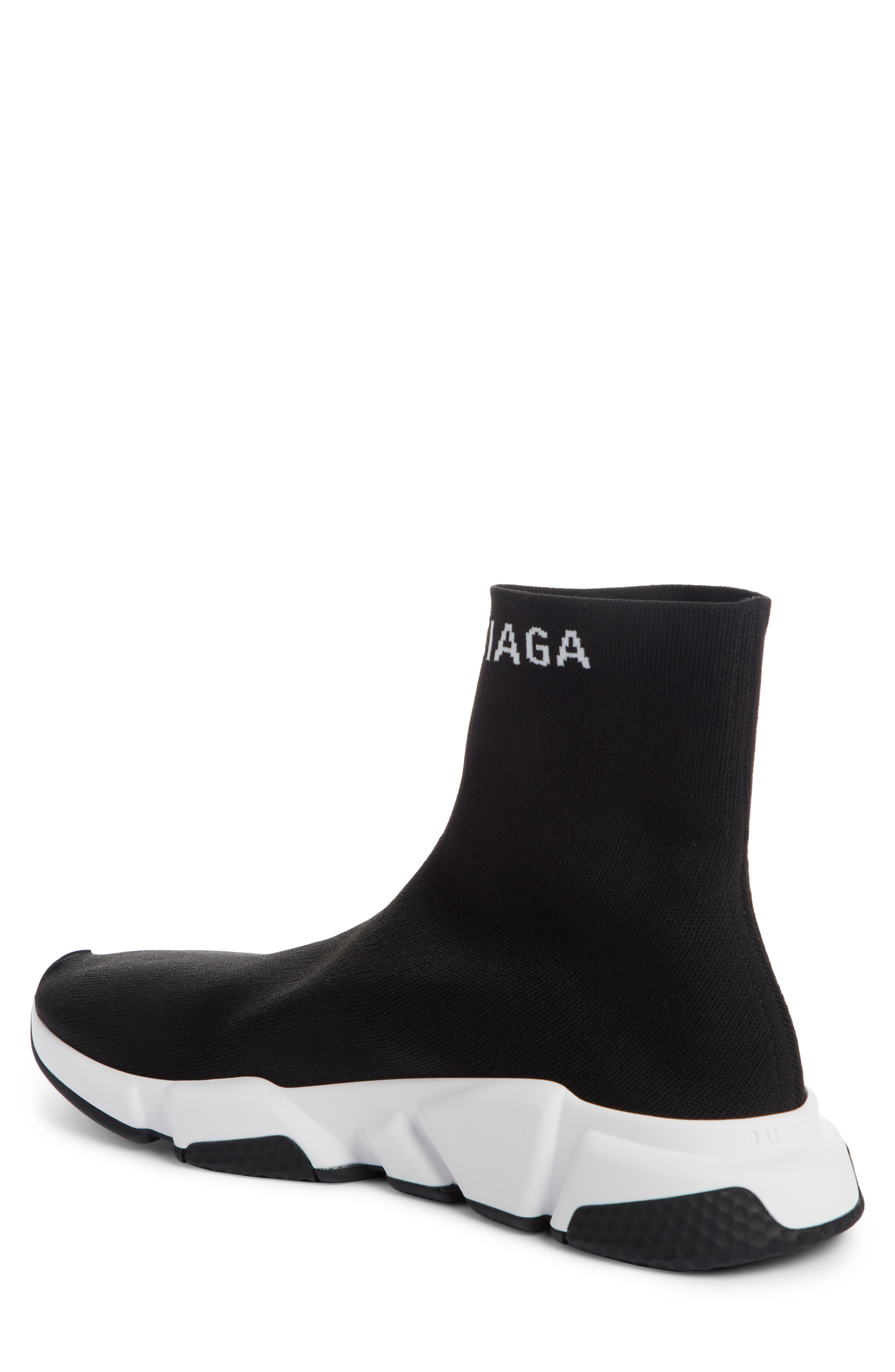 BALENCIAGA, Speed Sock Slip-On, Alternate thumbnail 2, color, BLACK/ WHITE