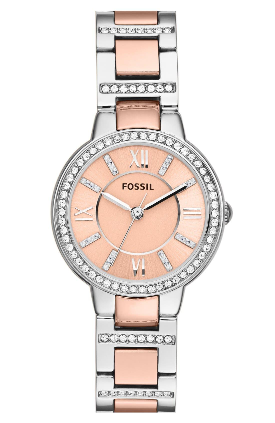 FOSSIL, 'Virginia' Crystal Bezel Bracelet Watch, 30mm, Main thumbnail 1, color, ROSE GOLD/ SILVER