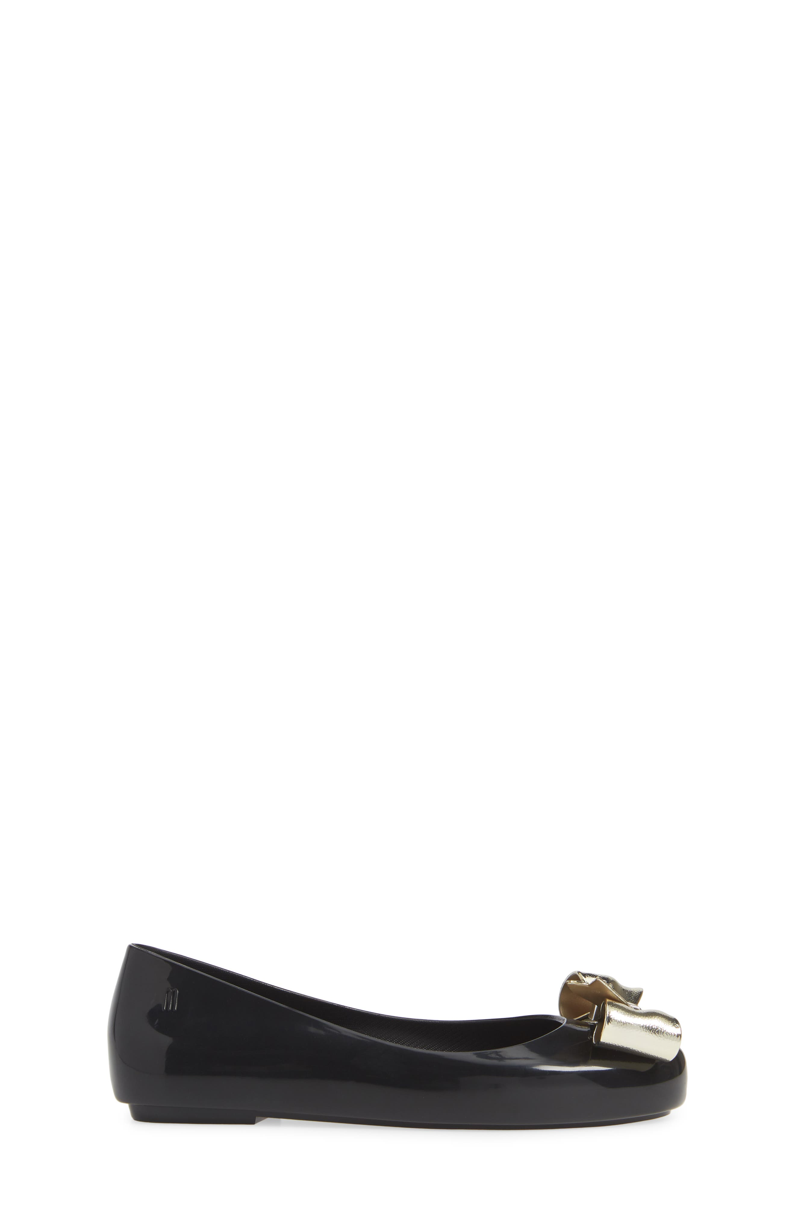 MEL BY MELISSA, Space Love II Bow Flat, Alternate thumbnail 3, color, BLACK GOLD