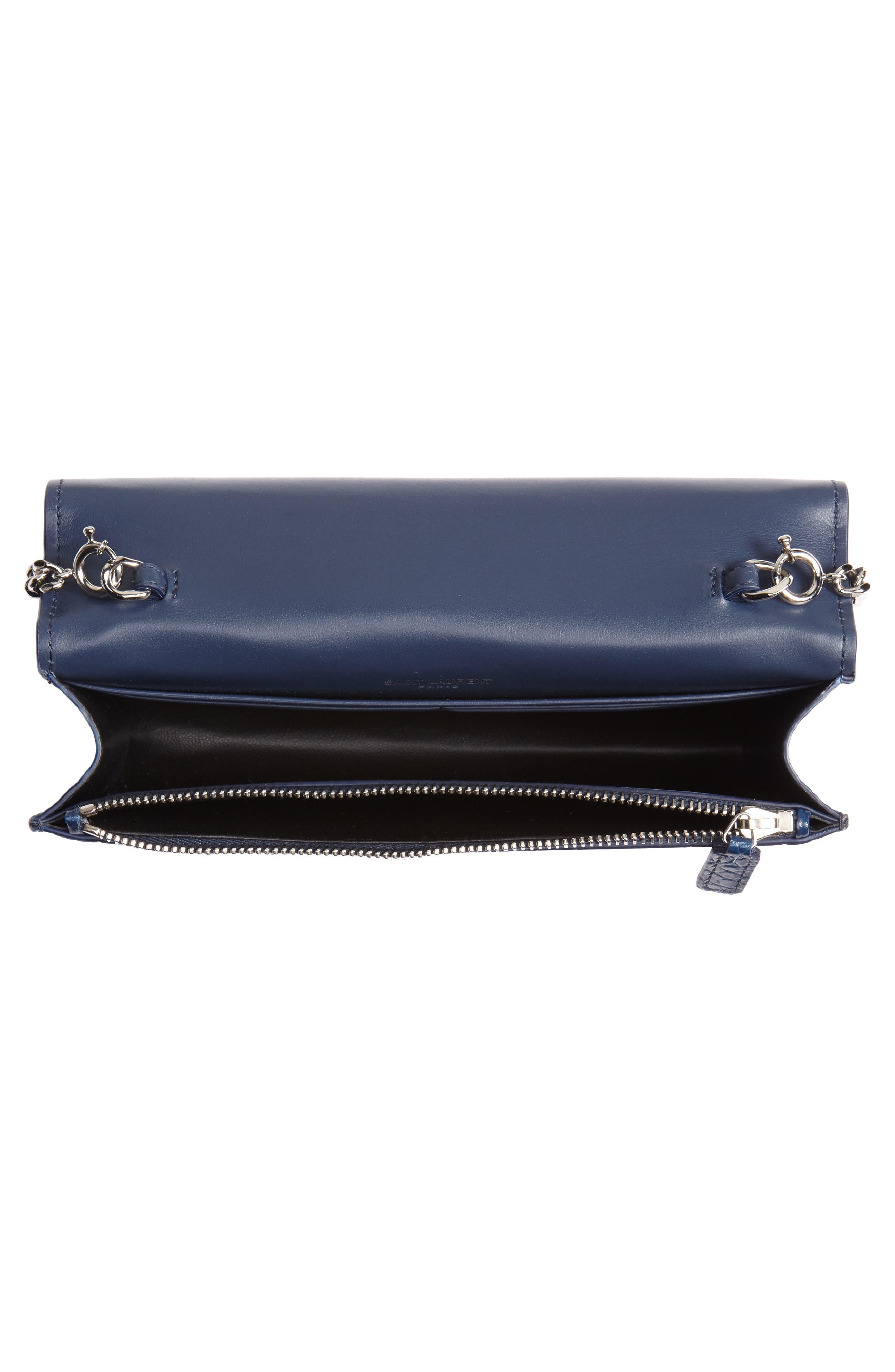SAINT LAURENT, Kate Croc Embossed Leather Wallet on a Chain, Alternate thumbnail 5, color, DENIM BLUE/ DENIM BLUE