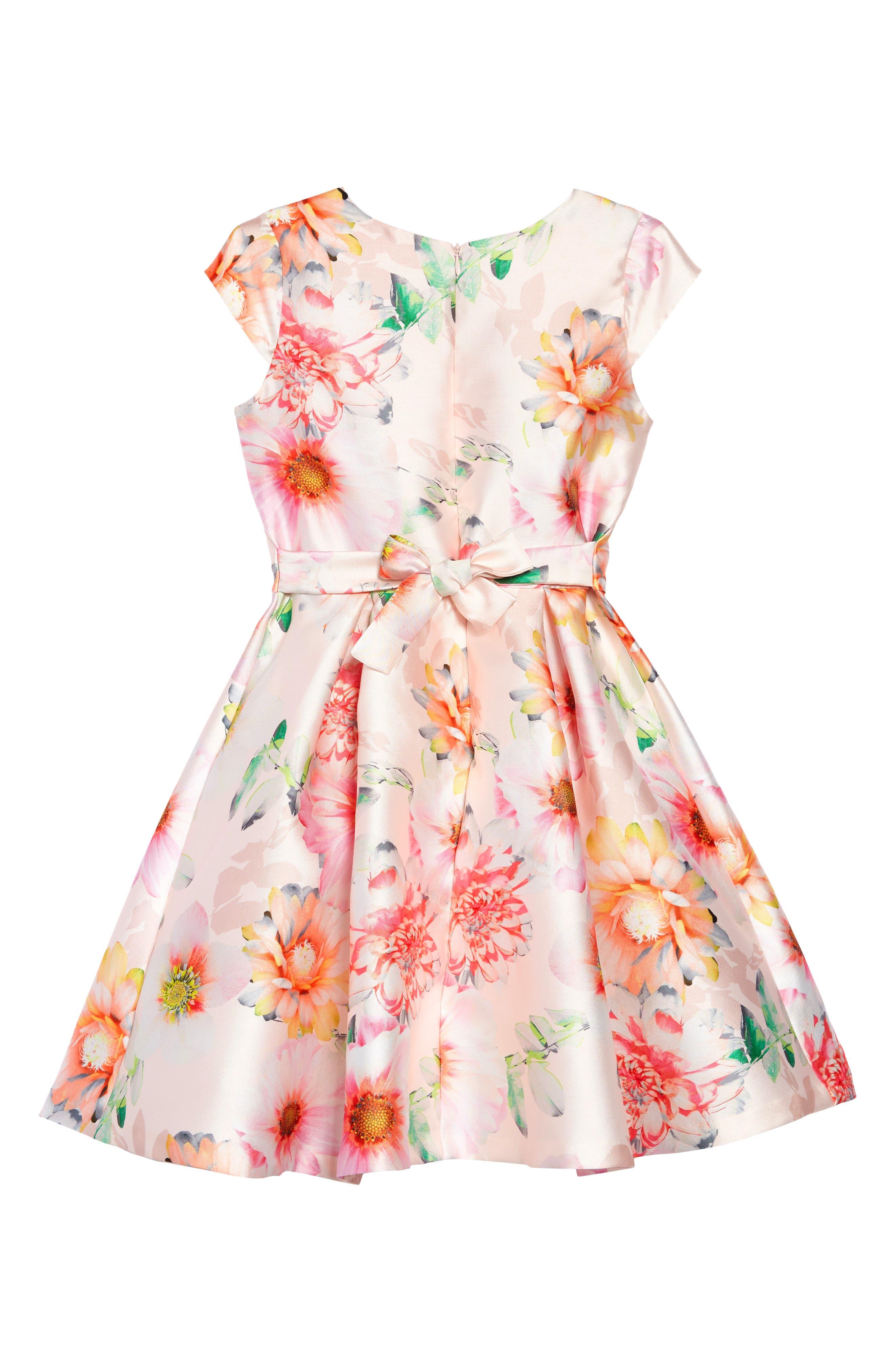 IRIS & IVY, Floral Print Satin Dress, Alternate thumbnail 2, color, PINK