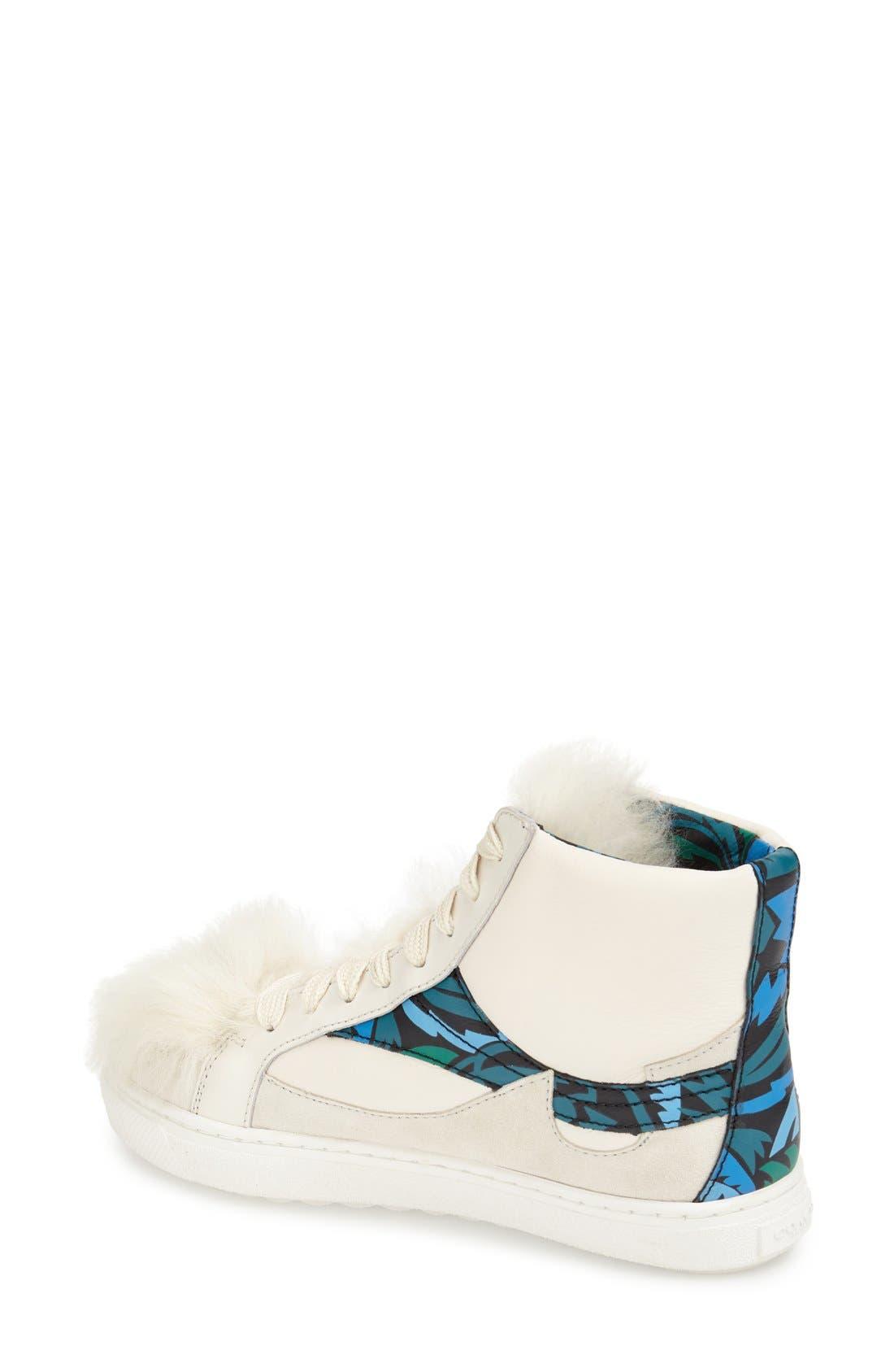 COACH, Genuine Shearling High Top Sneaker, Alternate thumbnail 3, color, 188