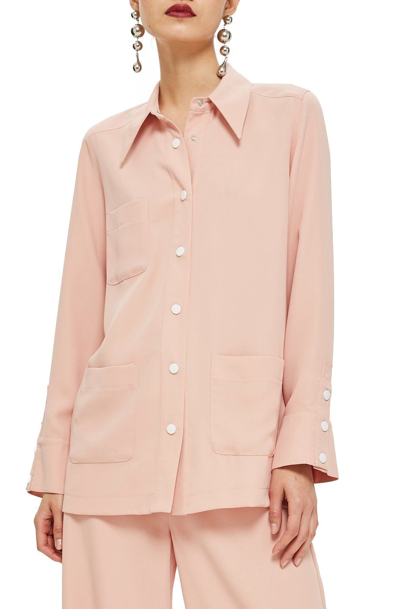 TOPSHOP, Popper Shirt, Main thumbnail 1, color, 650