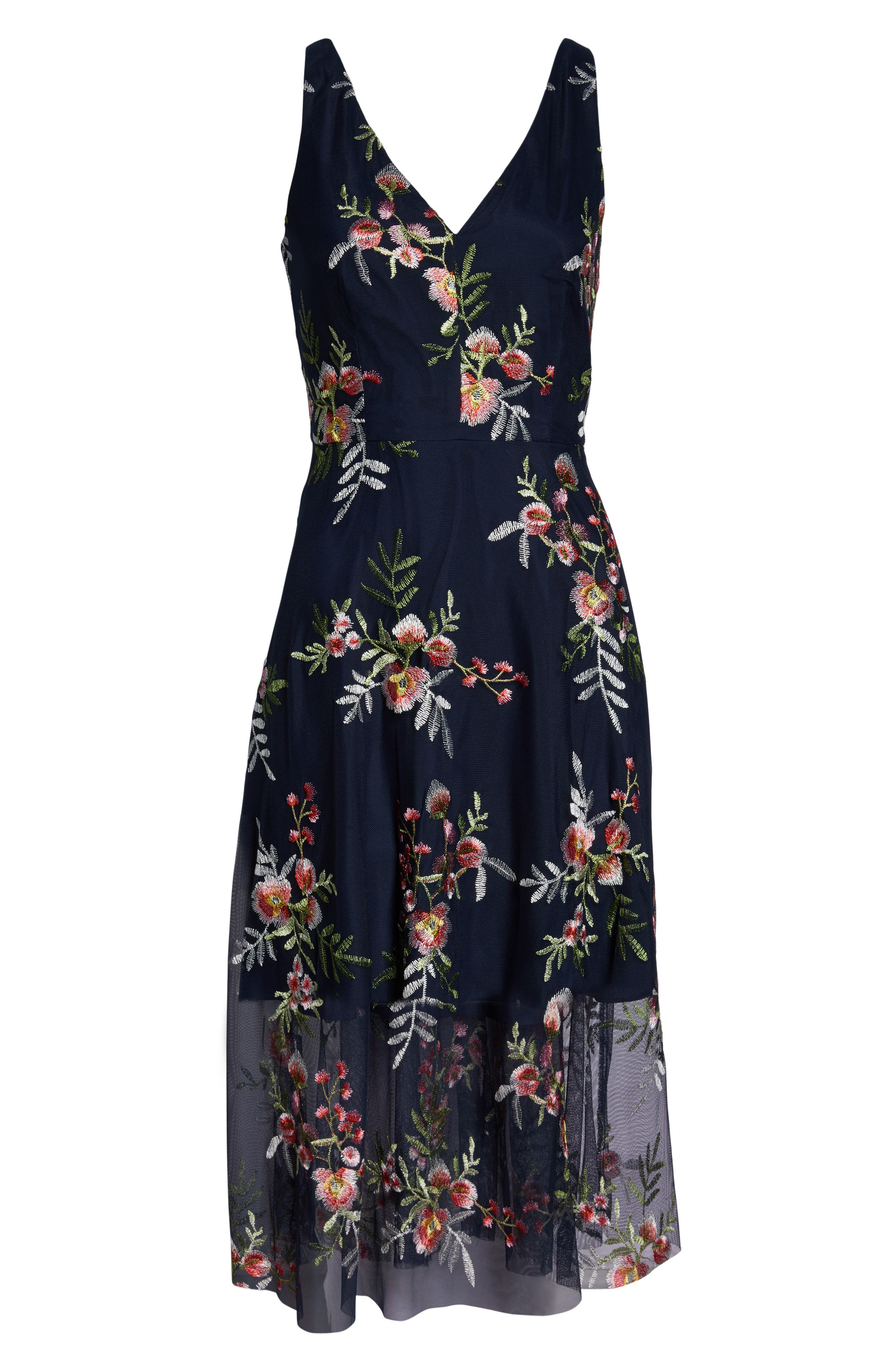 VINCE CAMUTO, Floral Embroidered Mesh Midi Dress, Alternate thumbnail 8, color, NAVY/ MULTI