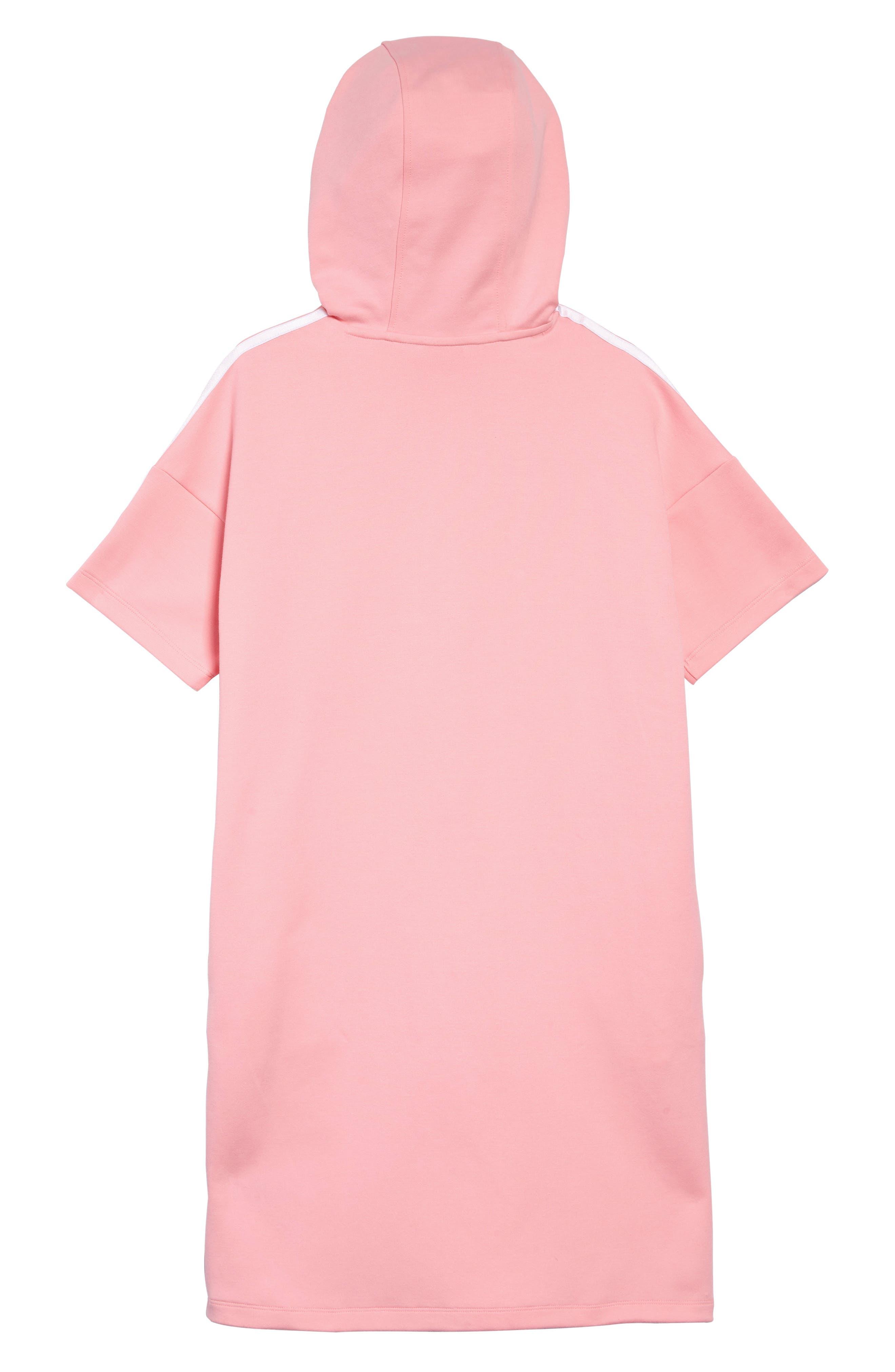 ADIDAS ORIGINALS, Logo Hooded Dress, Alternate thumbnail 2, color, LTPINK/ WHITE