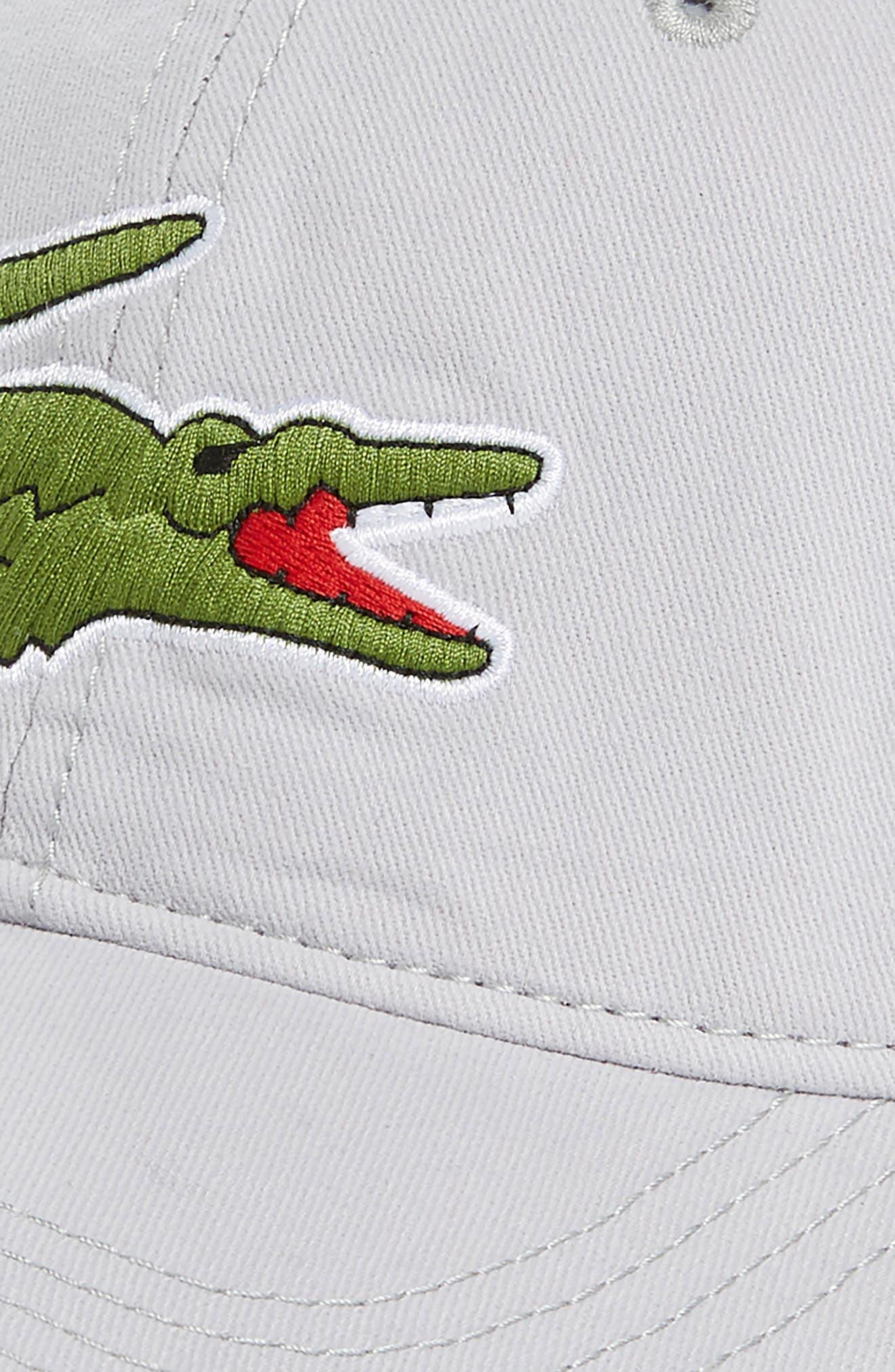 LACOSTE, 'Big Croc' Logo Embroidered Cap, Alternate thumbnail 3, color, 020