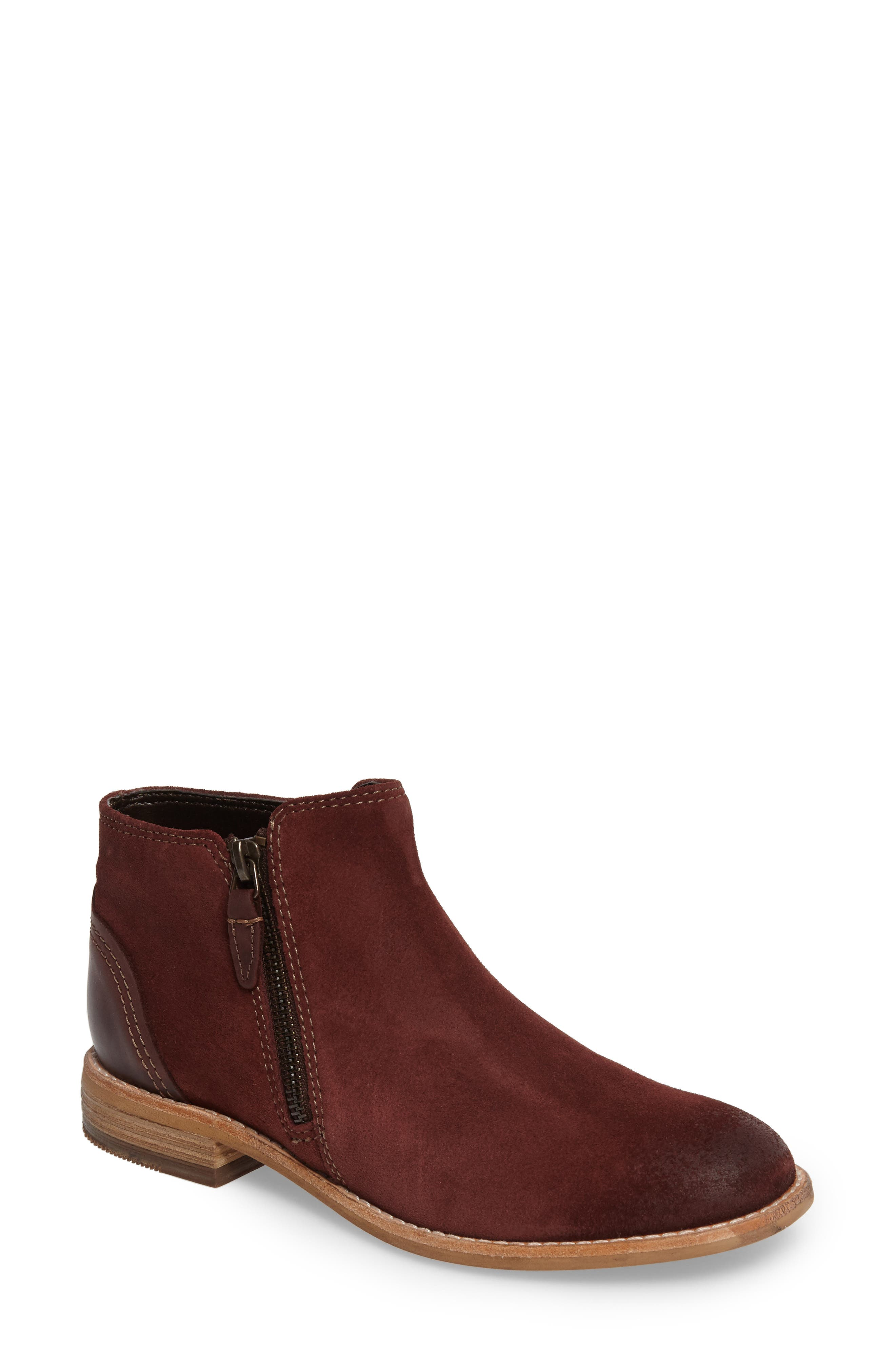CLARKS<SUP>®</SUP>, Maypearl Juno Ankle Boot, Main thumbnail 1, color, MAHOGANY SUEDE