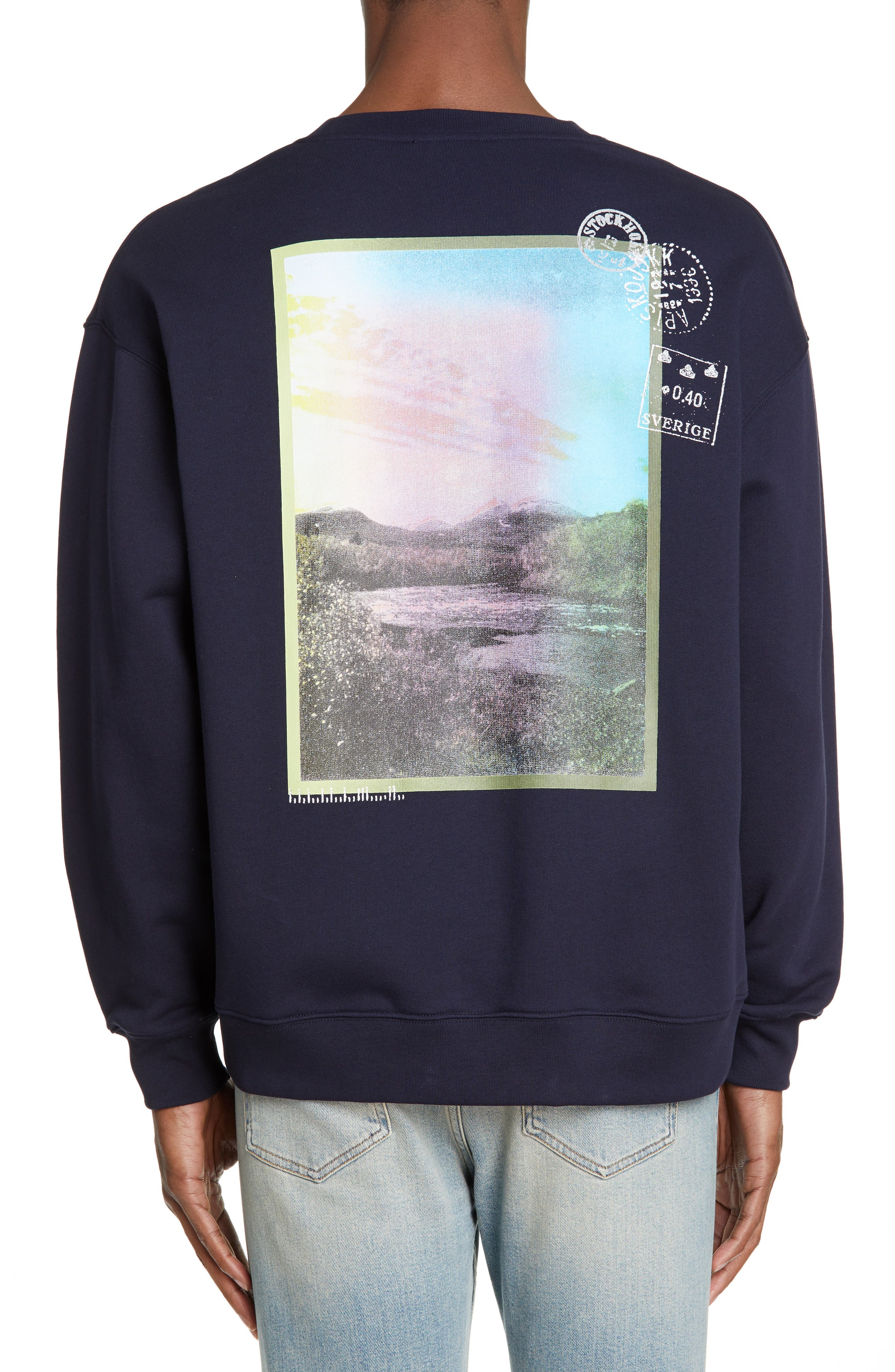 ACNE STUDIOS, Forba Sweden Graphic Sweatshirt, Alternate thumbnail 2, color, NAVY