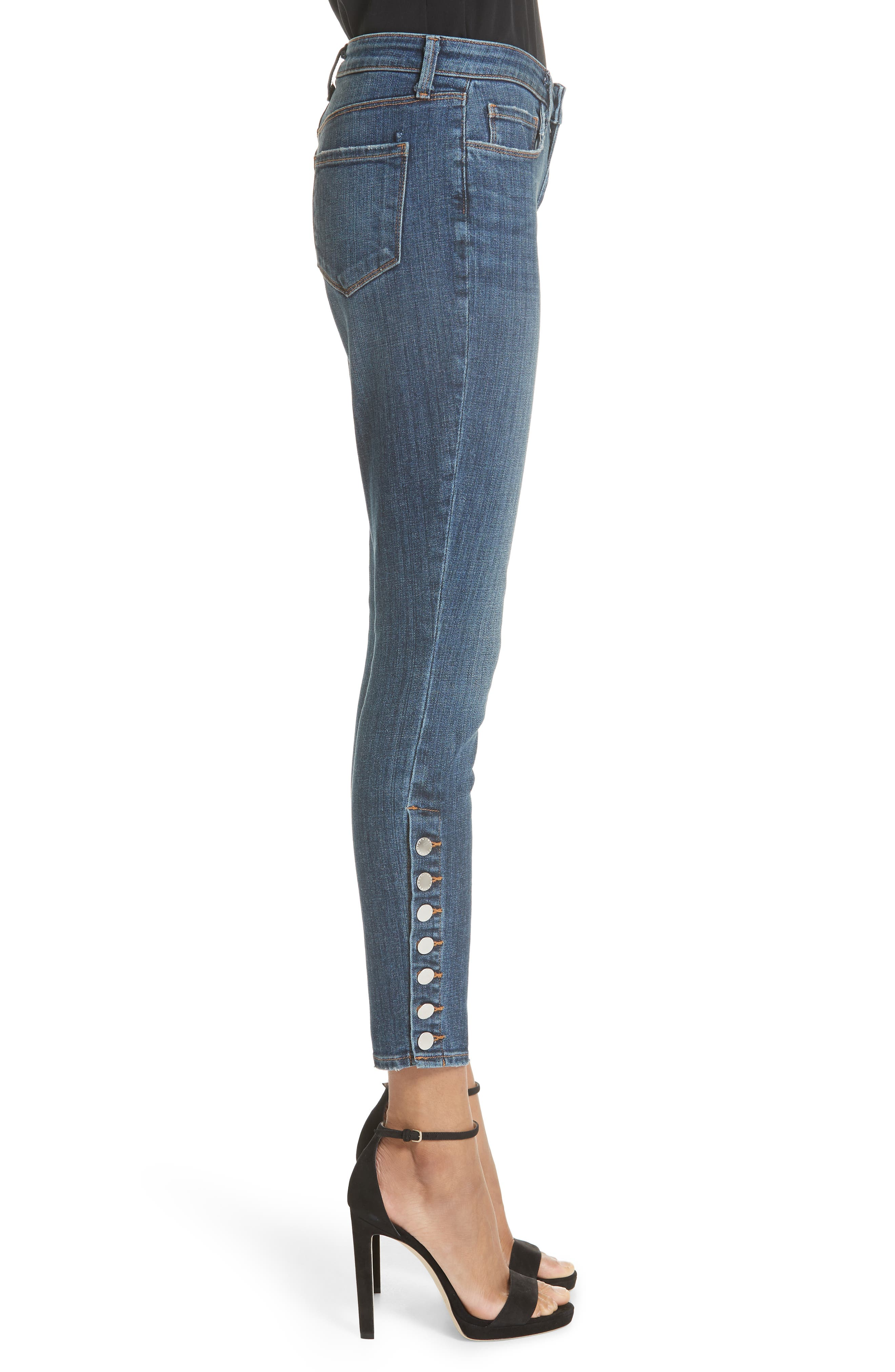 L'AGENCE, Piper Button Hem Skinny Jeans, Alternate thumbnail 3, color, CLASSIC VINTAGE