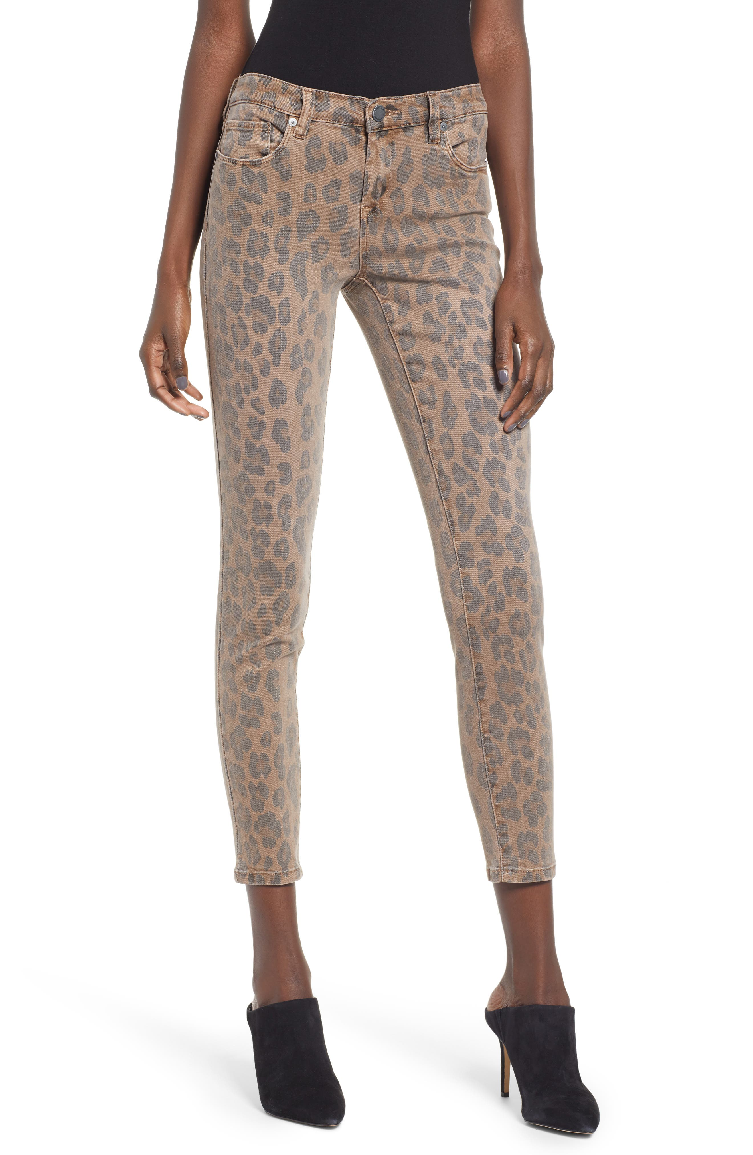 BLANKNYC, The Reade Leopard Crop Skinny Jeans, Main thumbnail 1, color, CATWALK