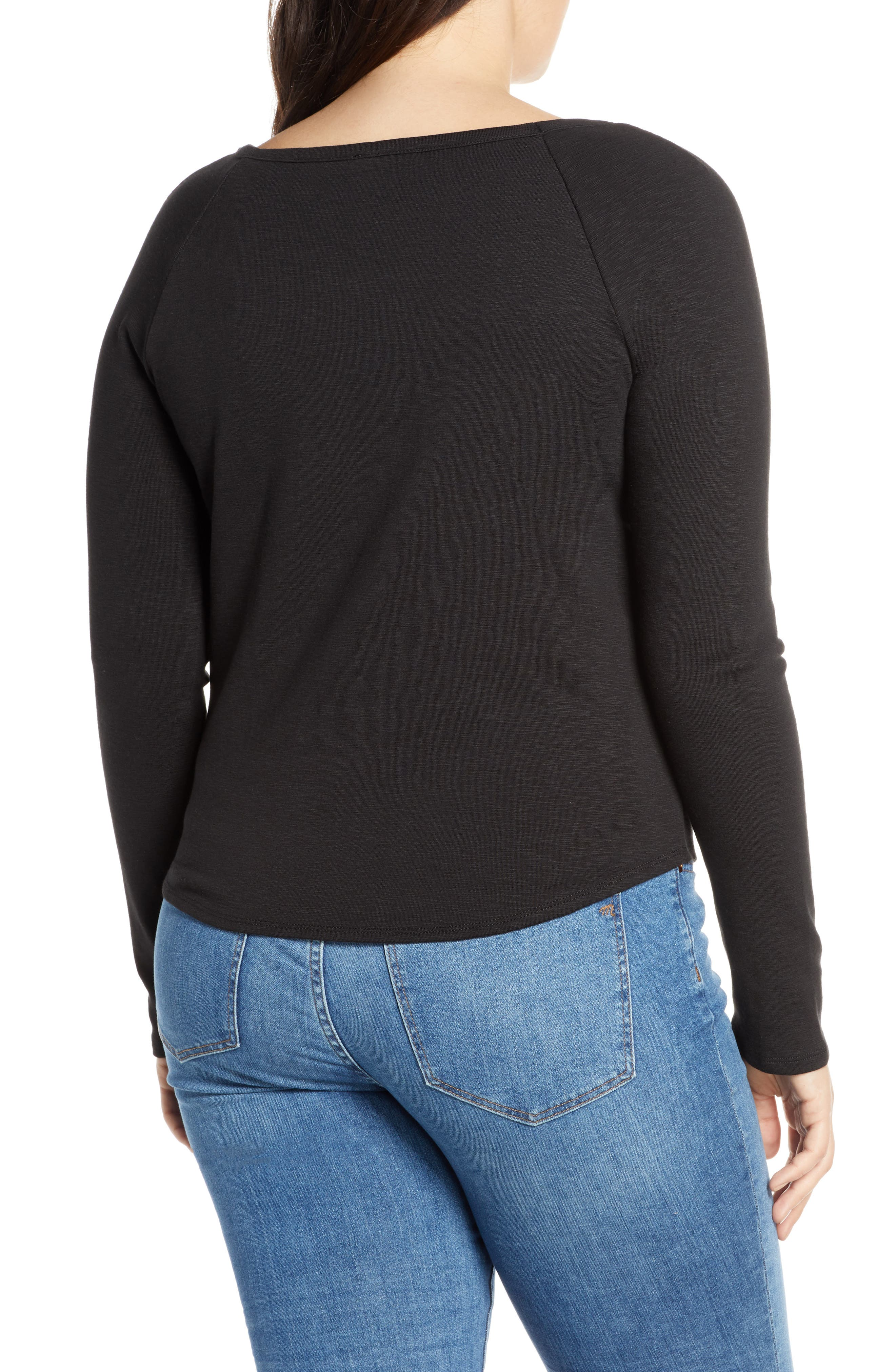 MADEWELL, Square Neck Long Sleeve Tee, Alternate thumbnail 7, color, TRUE BLACK