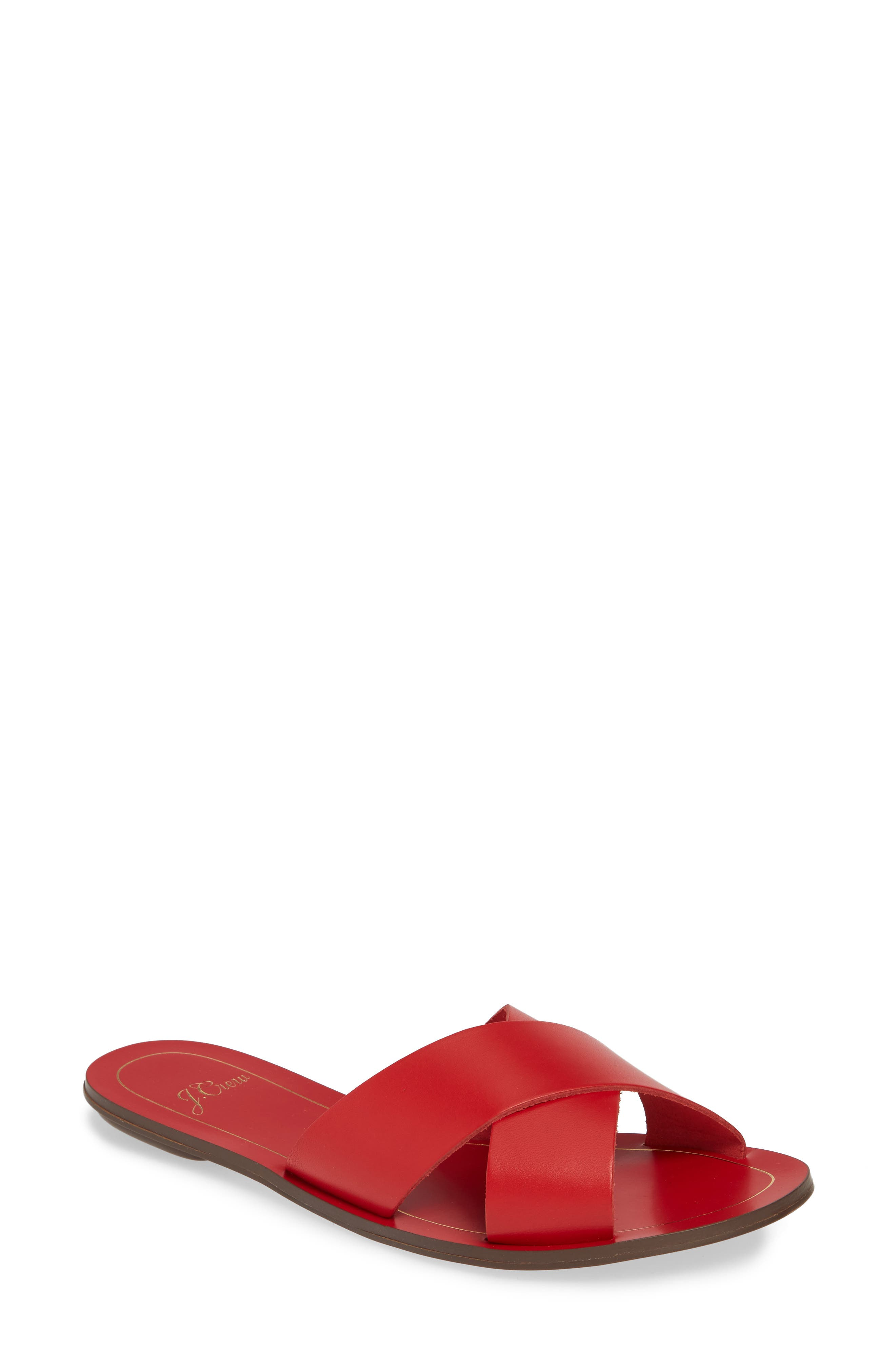 J.CREW, Cyprus Slide Sandal, Main thumbnail 1, color, BOLD RED LEATHER