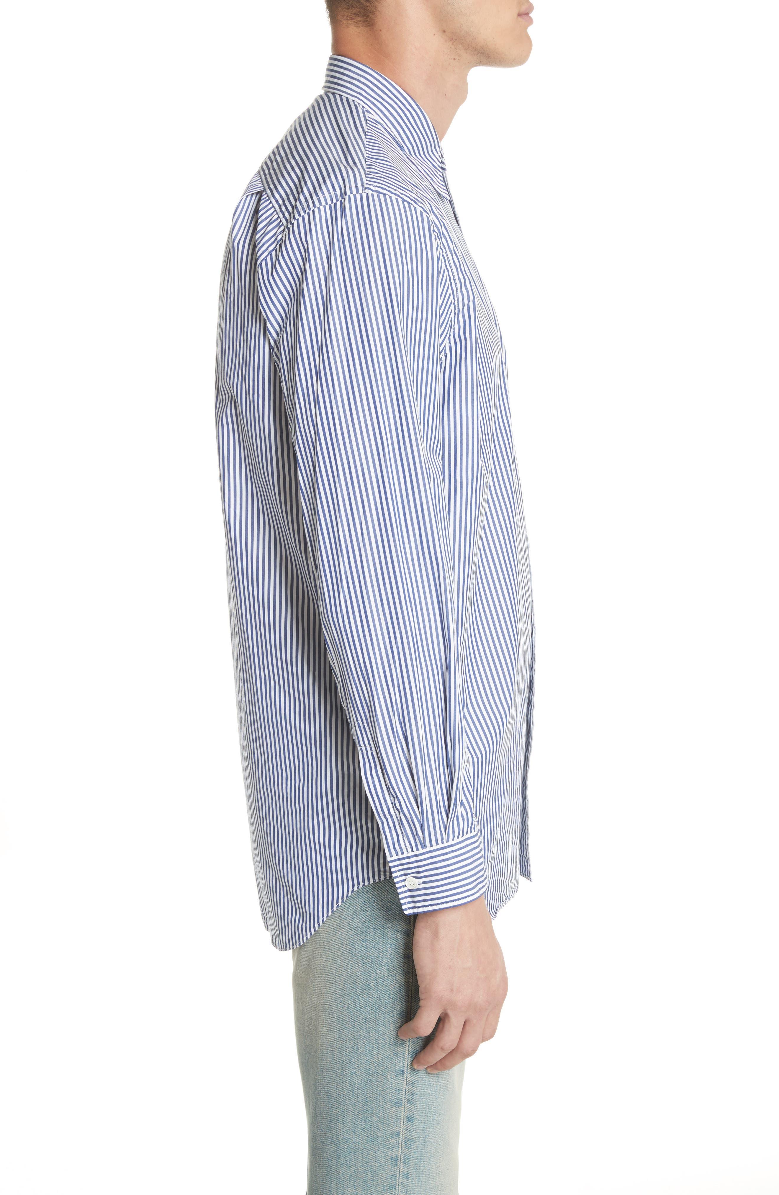 COMME DES GARÇONS PLAY, Stripe Woven Shirt, Alternate thumbnail 3, color, BLUE