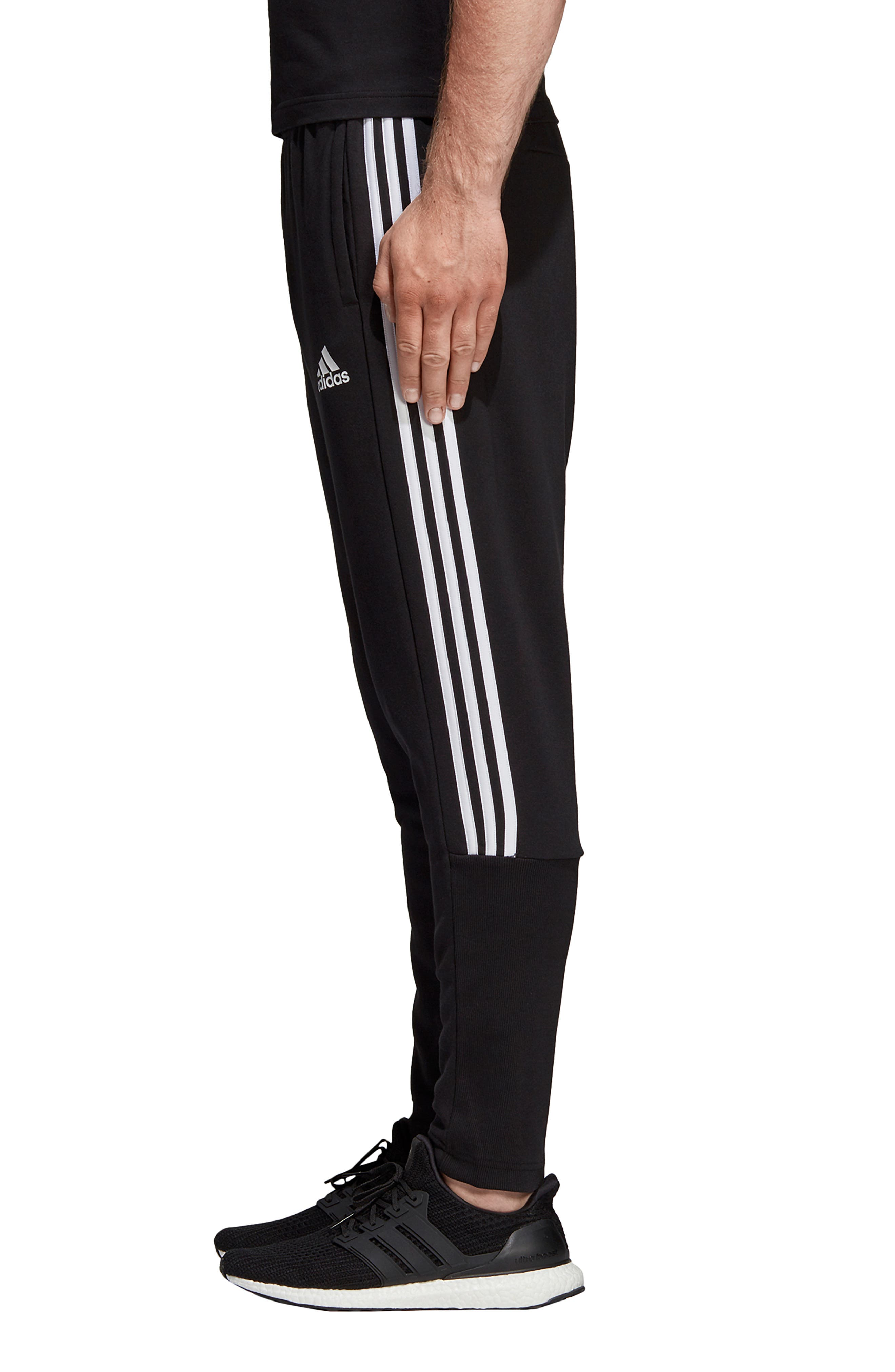 ADIDAS, MH 3S Tiro Sweatpants, Alternate thumbnail 4, color, BLACK/ WHITE