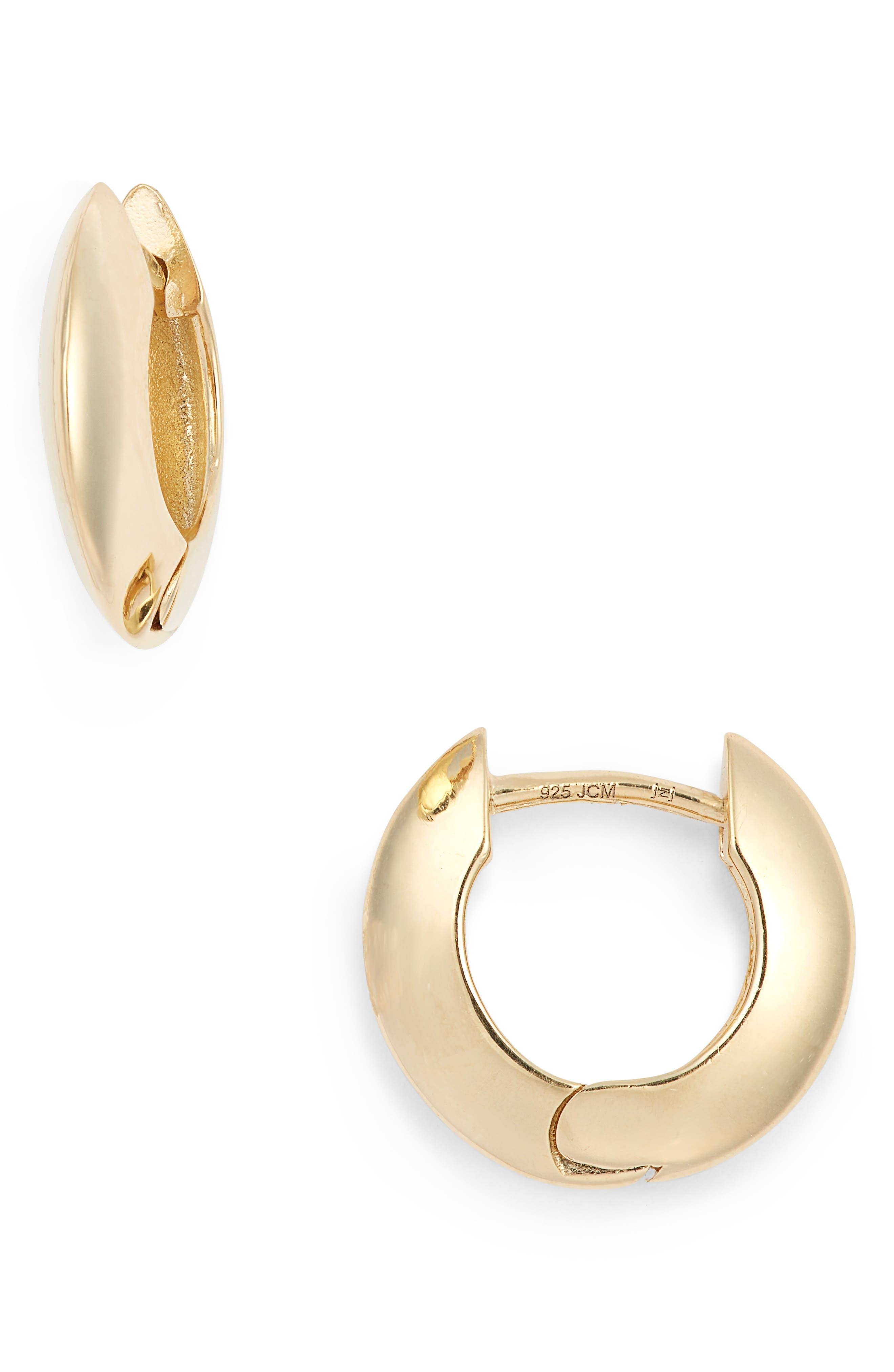 JENNIFER ZEUNER, Farrah Huggie Earrings, Main thumbnail 1, color, YELLOW VERMEIL
