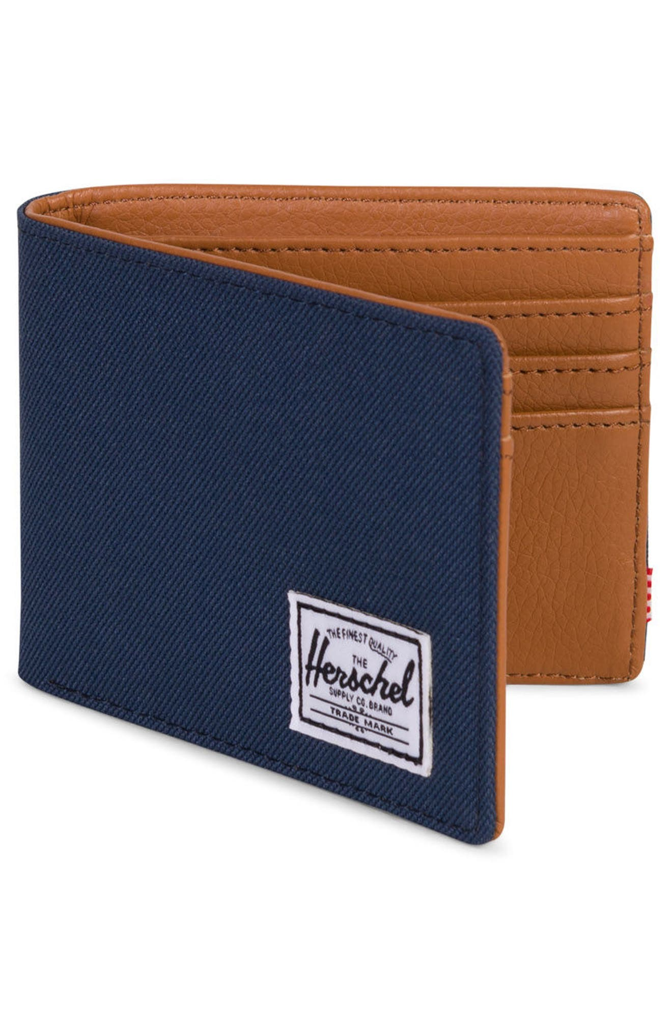 HERSCHEL SUPPLY CO., Hank RFID Bifold Wallet, Alternate thumbnail 3, color, NAVY/ TAN