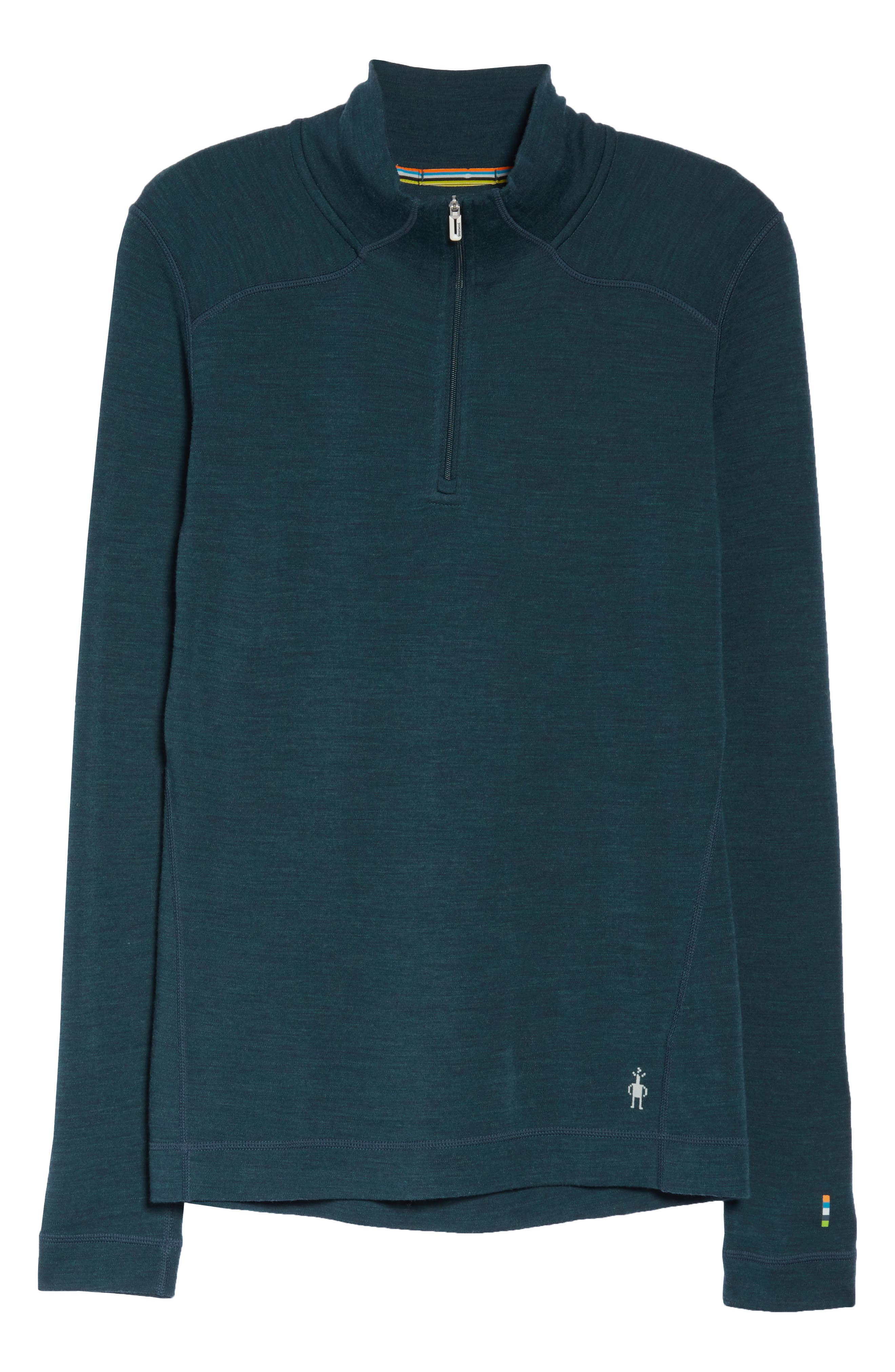 SMARTWOOL, Merino 250 Quarter Zip Base Layer Top, Alternate thumbnail 7, color, LOCHNESS HEATHER