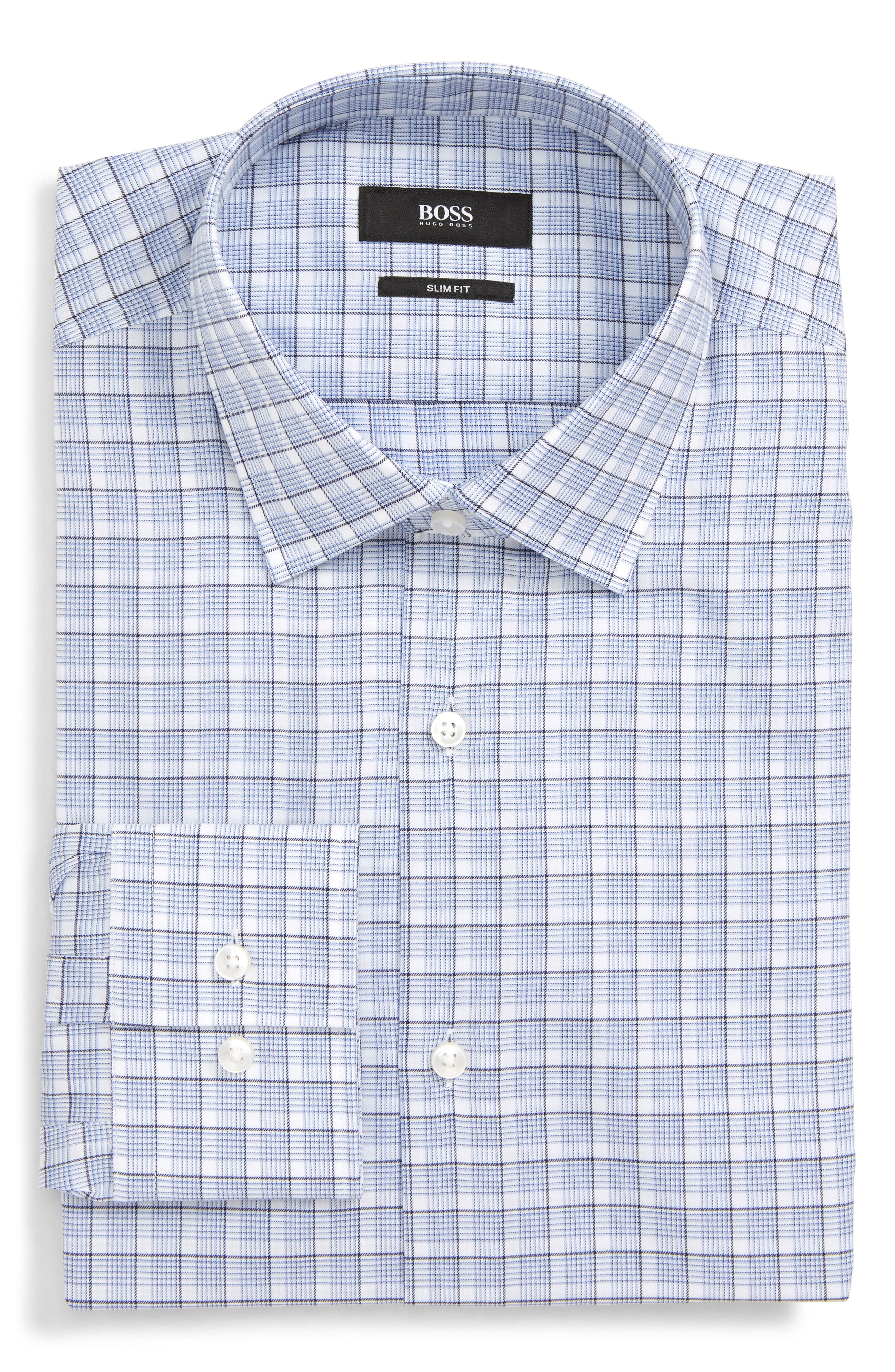 BOSS, Jenno Slim Fit Plaid Dress Shirt, Alternate thumbnail 5, color, BLUE