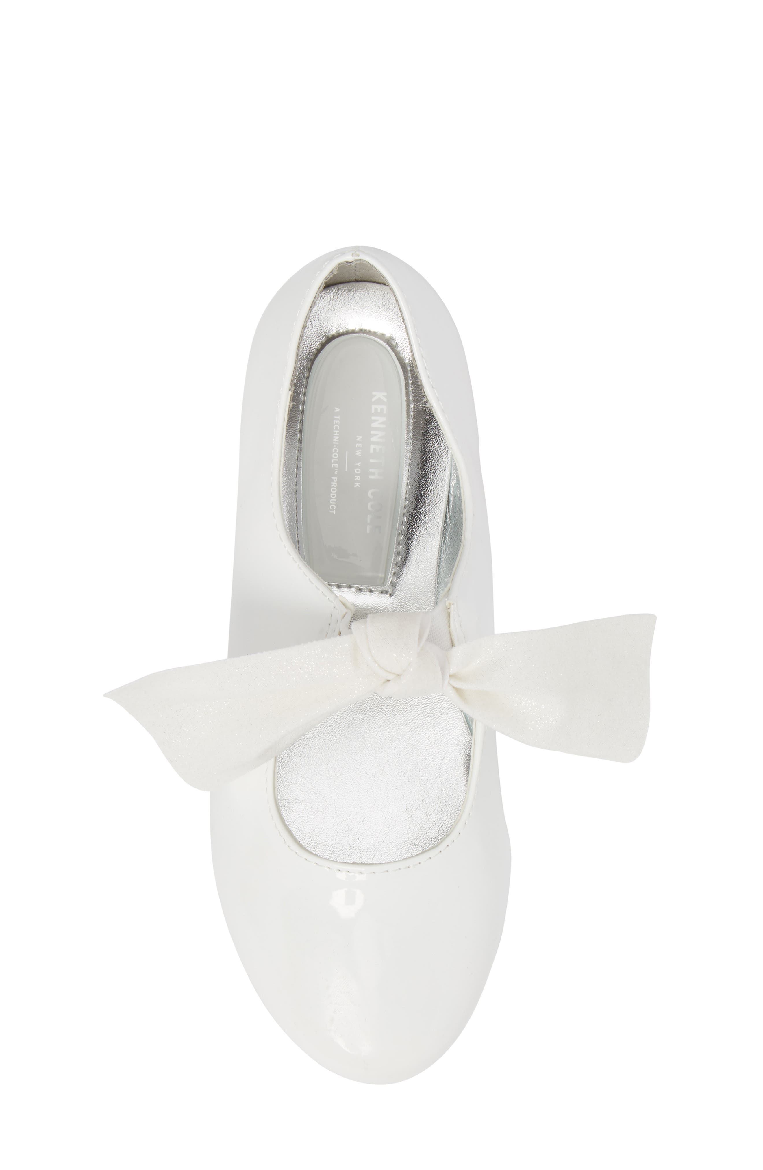 KENNETH COLE NEW YORK, Reaction Kenneth Cole Rose Bow Mary Jane Flat, Alternate thumbnail 5, color, WHITE PATENT