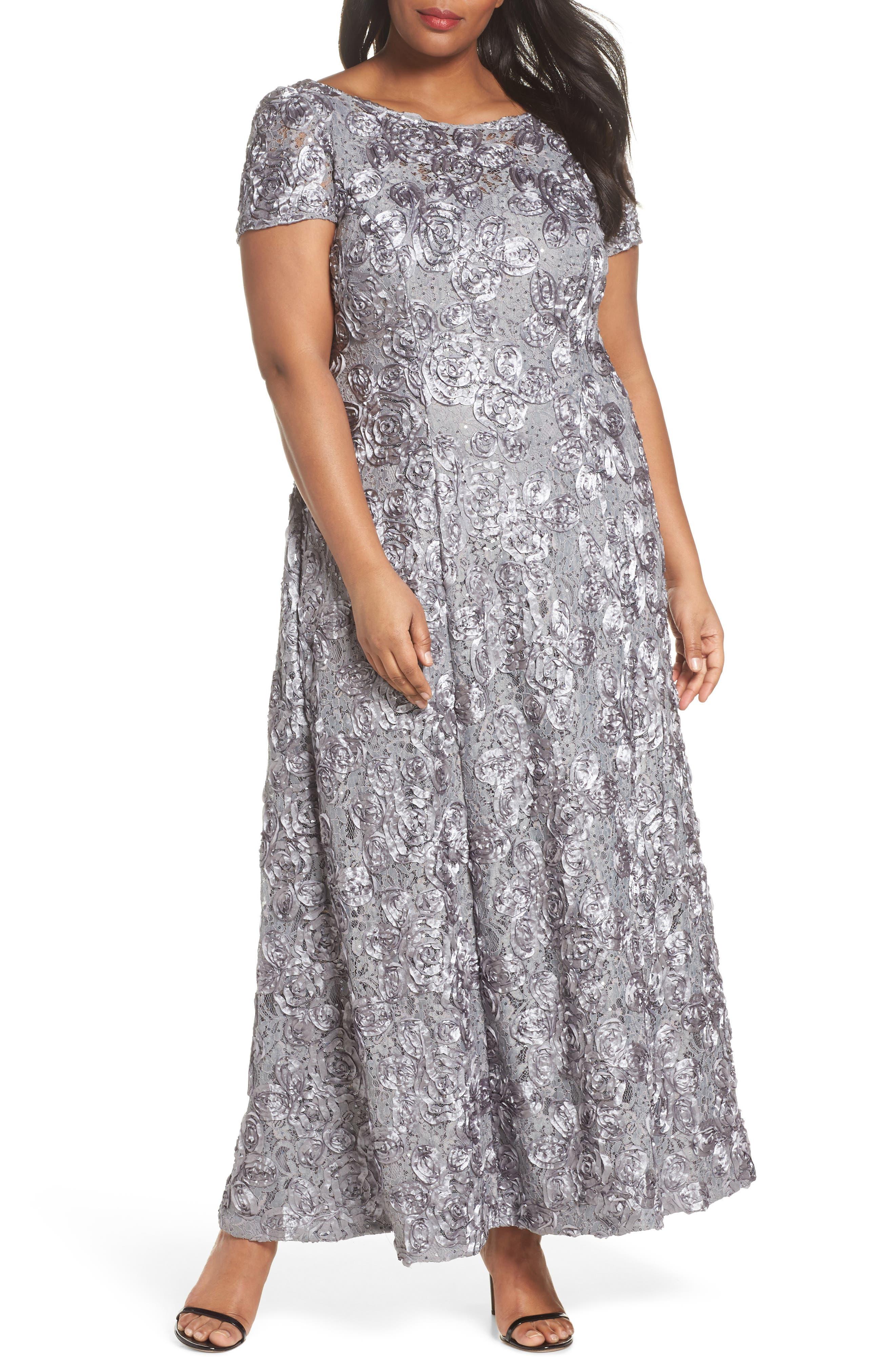 ALEX EVENINGS, Rosette Lace Short Sleeve A-Line Gown, Main thumbnail 1, color, DOVE